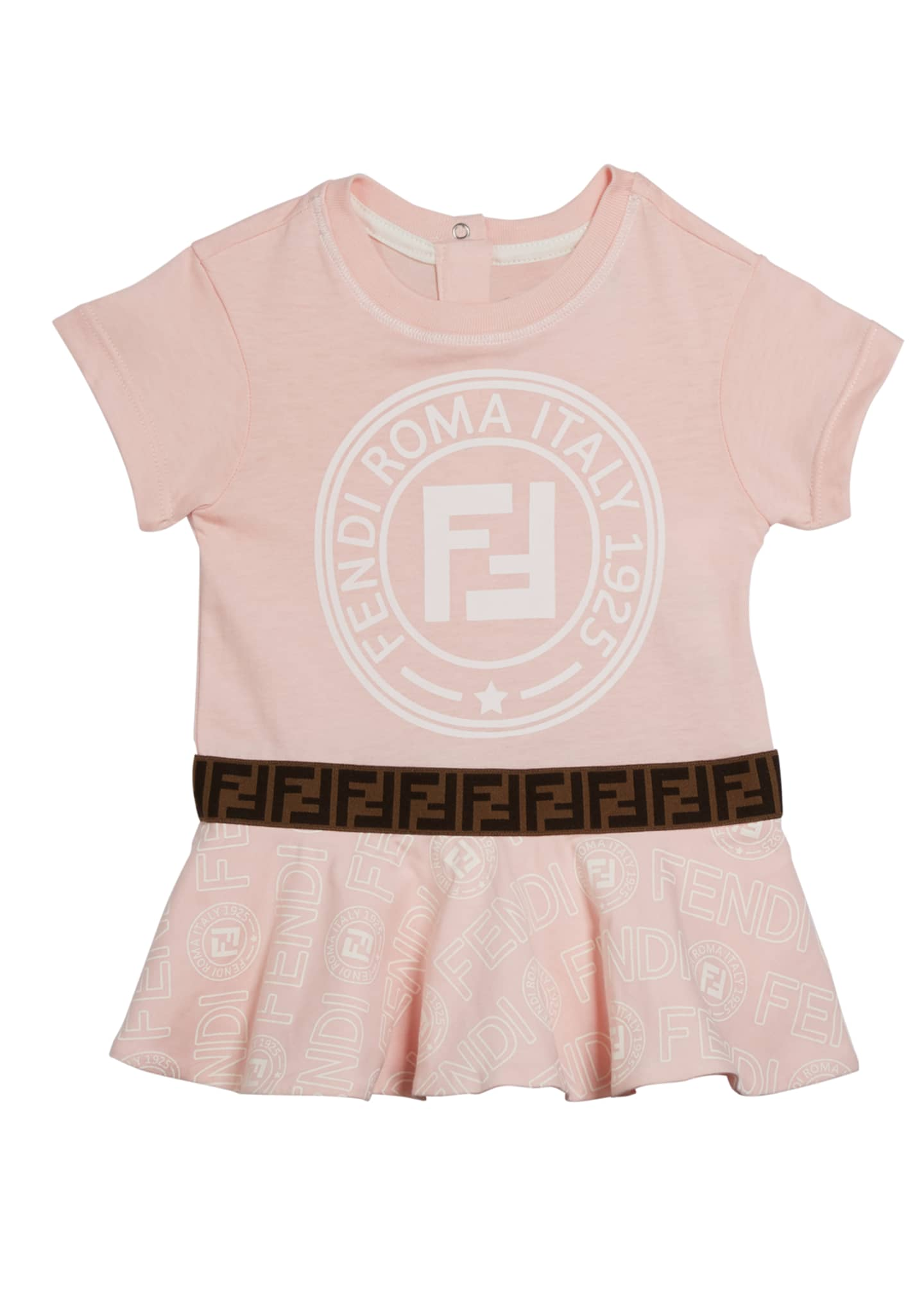 Fendi Girl's Logo Print Short-Sleeve Dress, Size 12-24