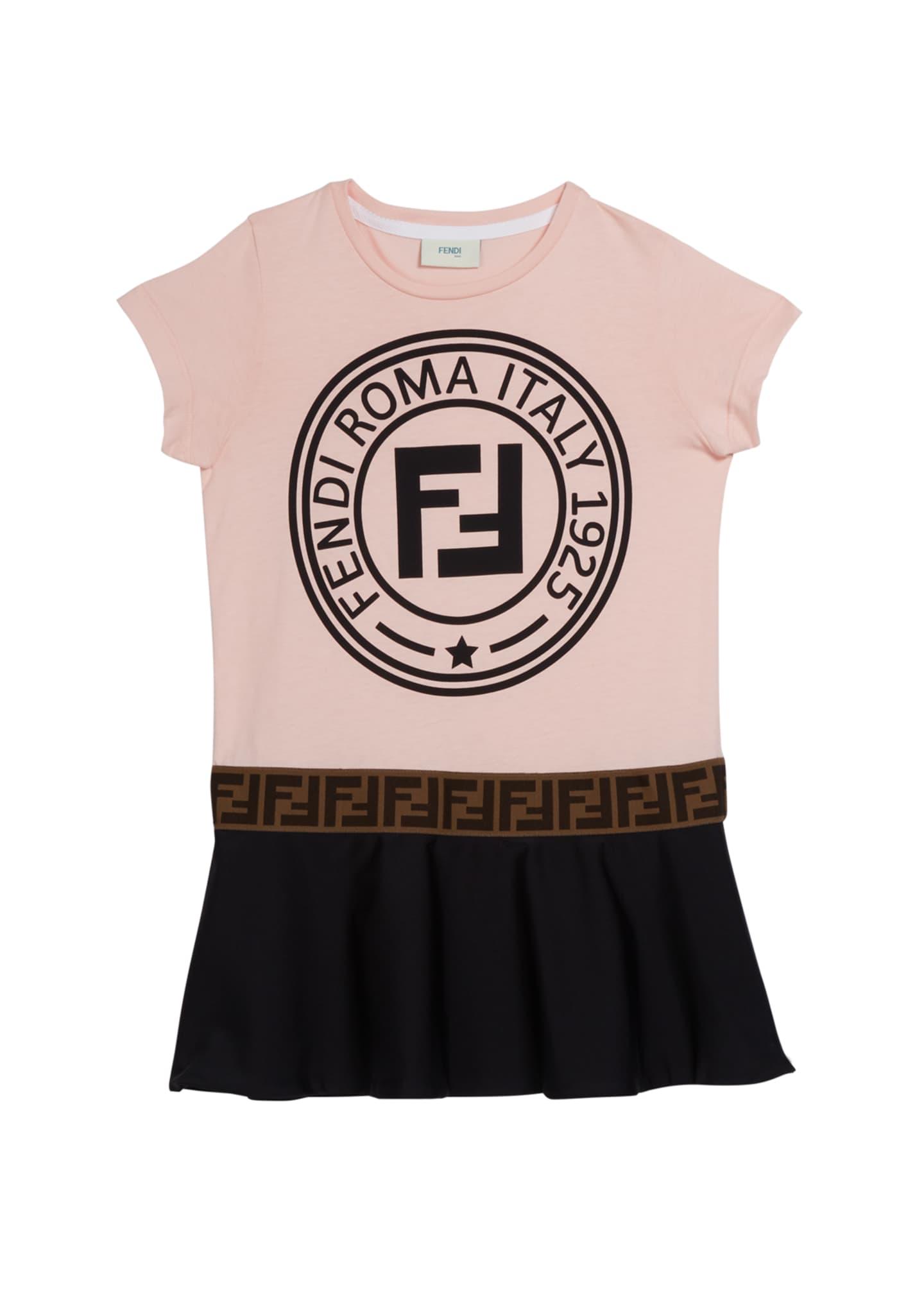 Fendi Colorblock Logo Short-Sleeve Dress, Size 4-14