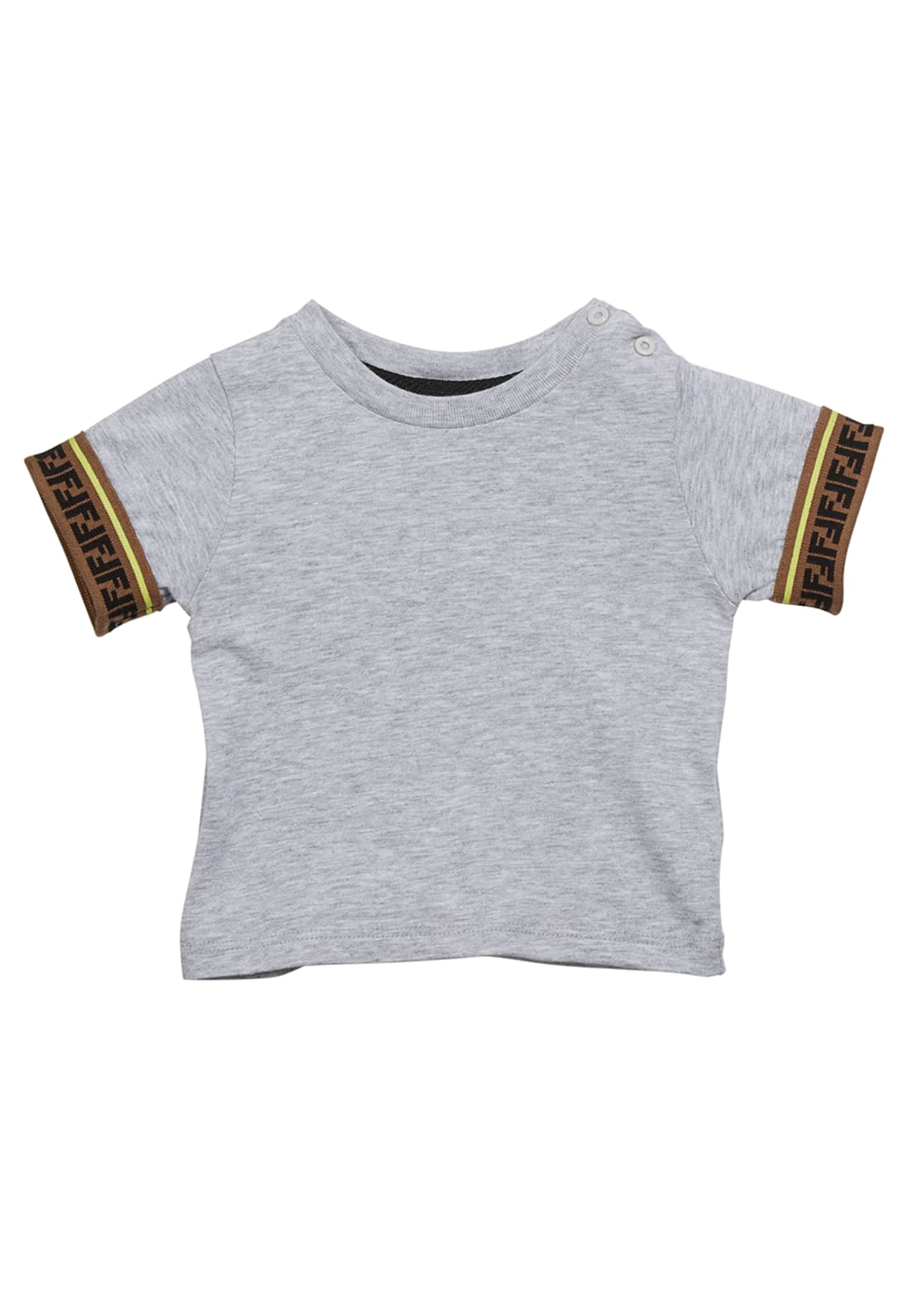 Fendi Boy's Short-Sleeve T-Shirt w/ FF Taping, Size