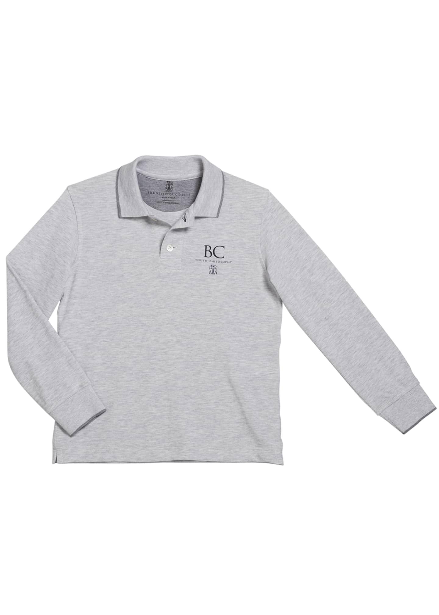 Brunello Cucinelli Boy's Long-Sleeve Polo Shirt with Logo