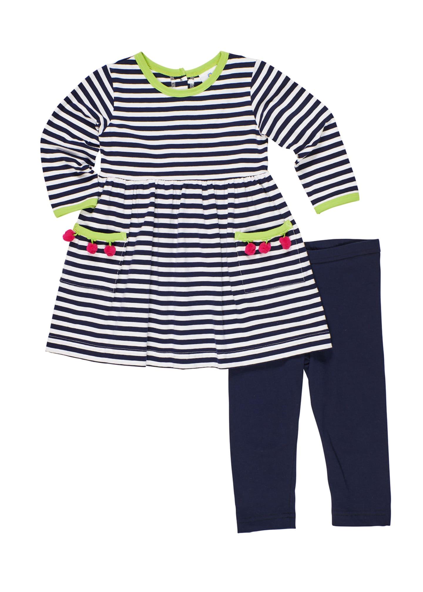 Florence Eiseman Stripe Knit Pompom Dress w/ Solid