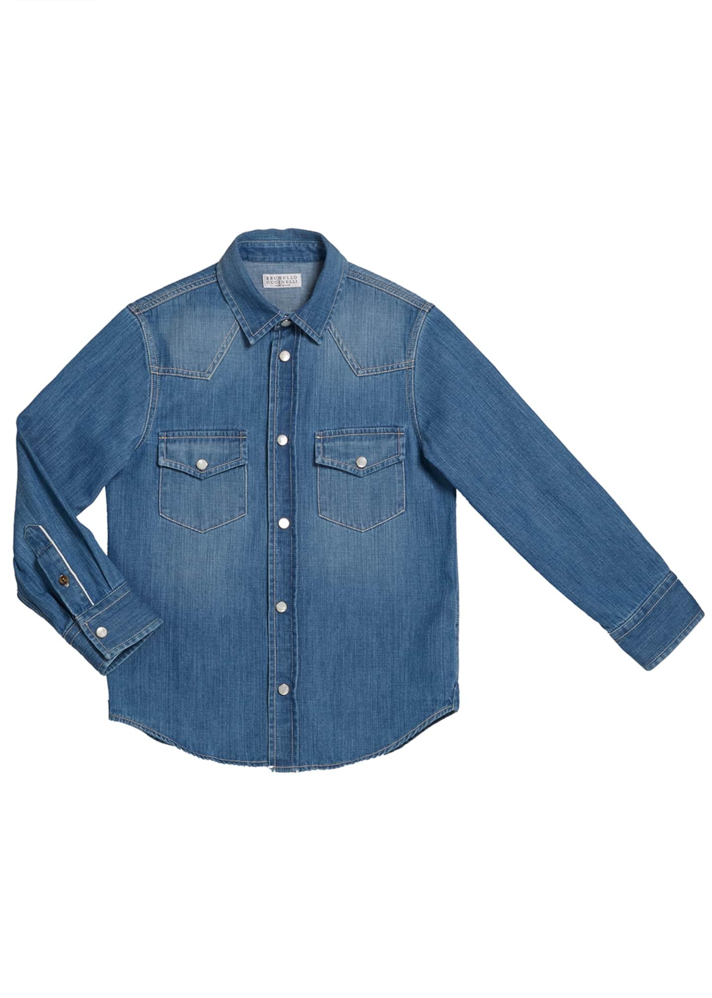 Brunello Cucinelli Boy's Long-Sleeve Button-Down Denim Shirt,