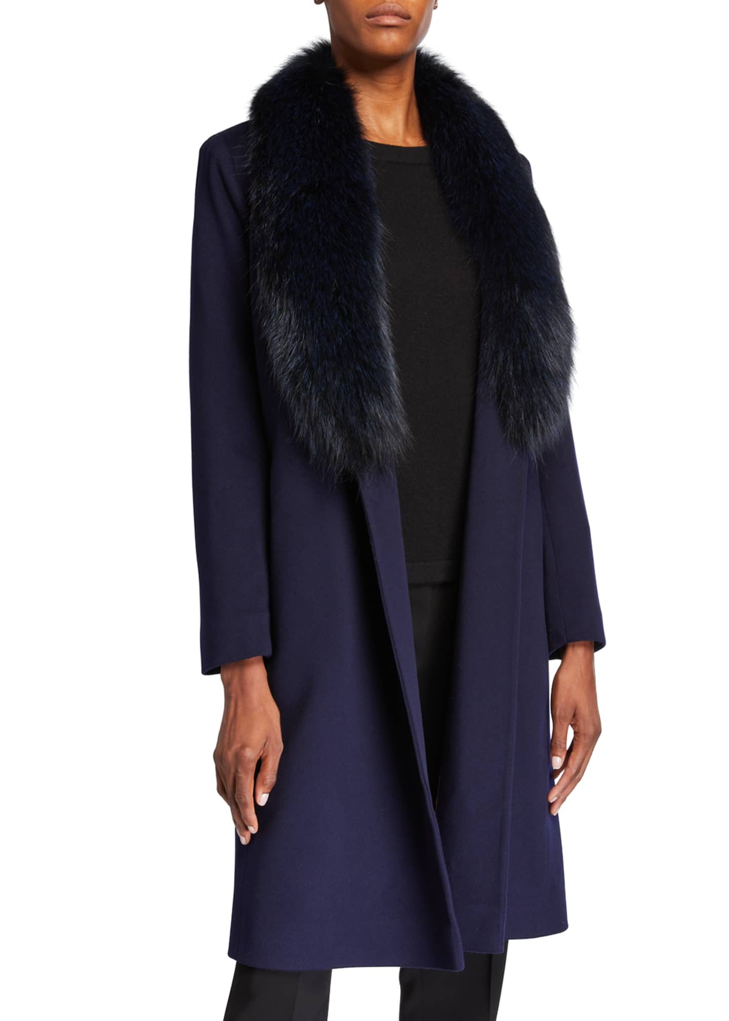 Image 2 of 3: Fox Fur Shawl-Collar Wool Wrap Coat