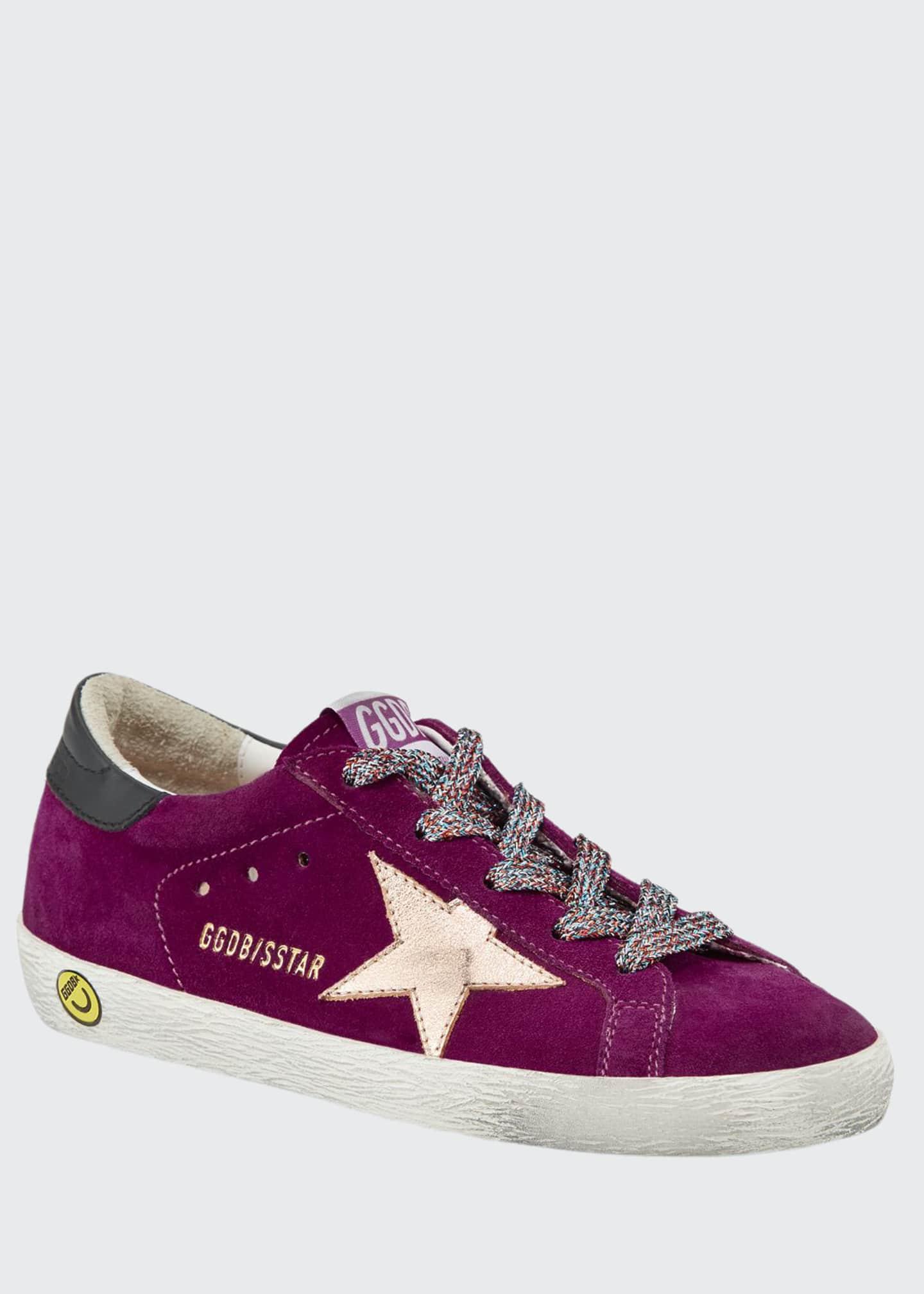 Golden Goose Girl's Superstar Suede Metallic Star Sneakers,