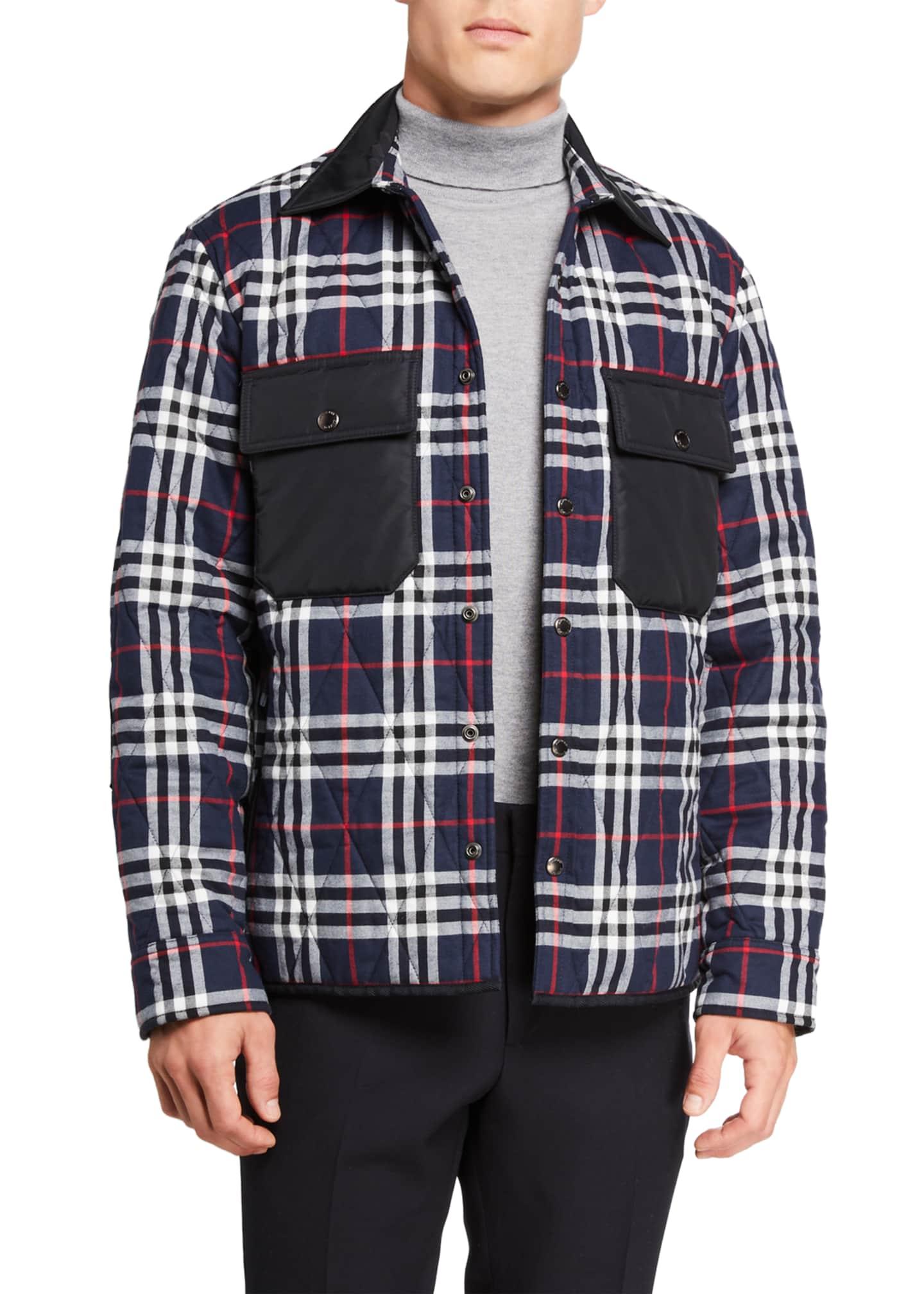 Burberry Men's Billington Check Quilted Shirt Jacket