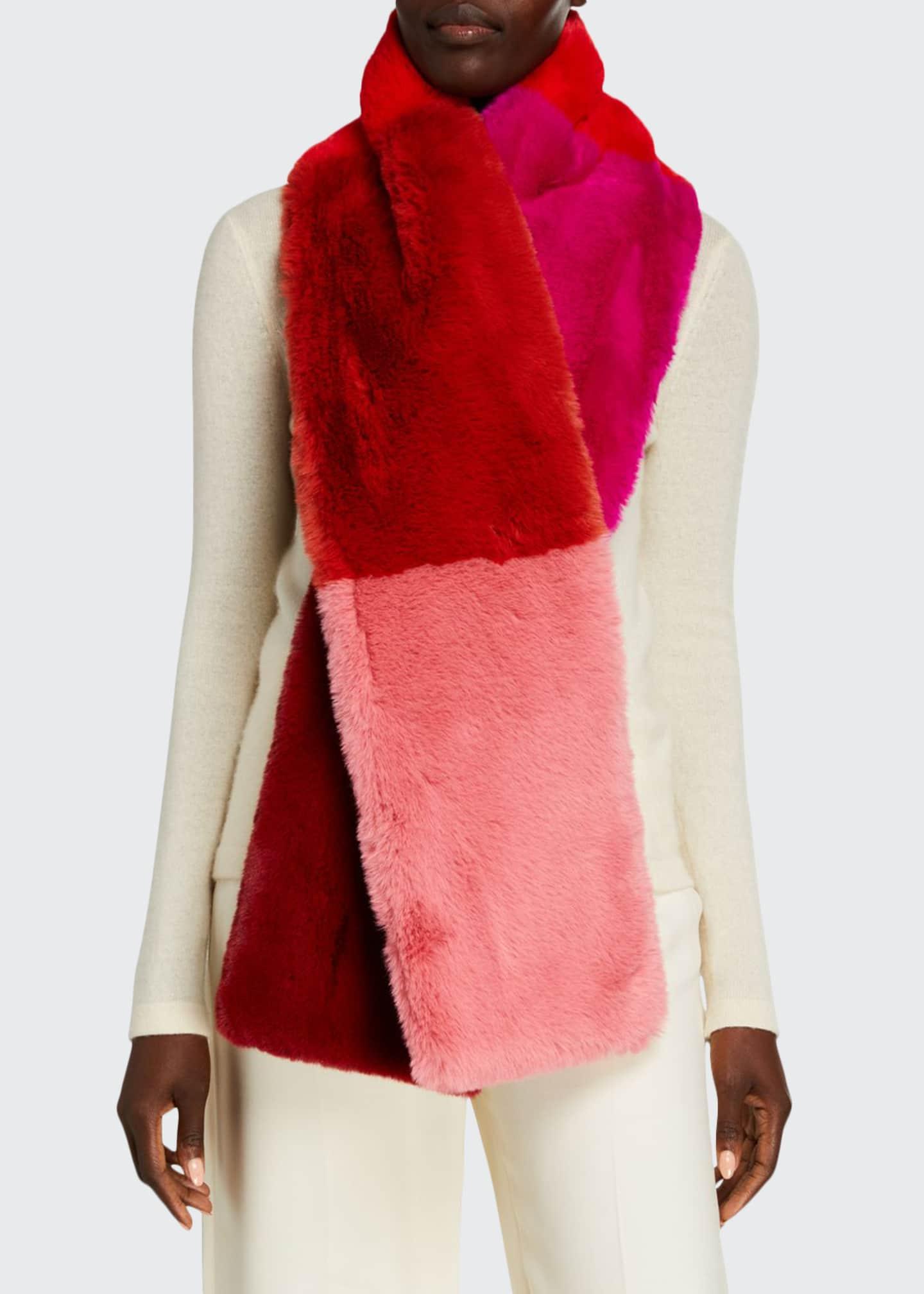 Jocelyn Wide Colorblock Faux Fur Scarf