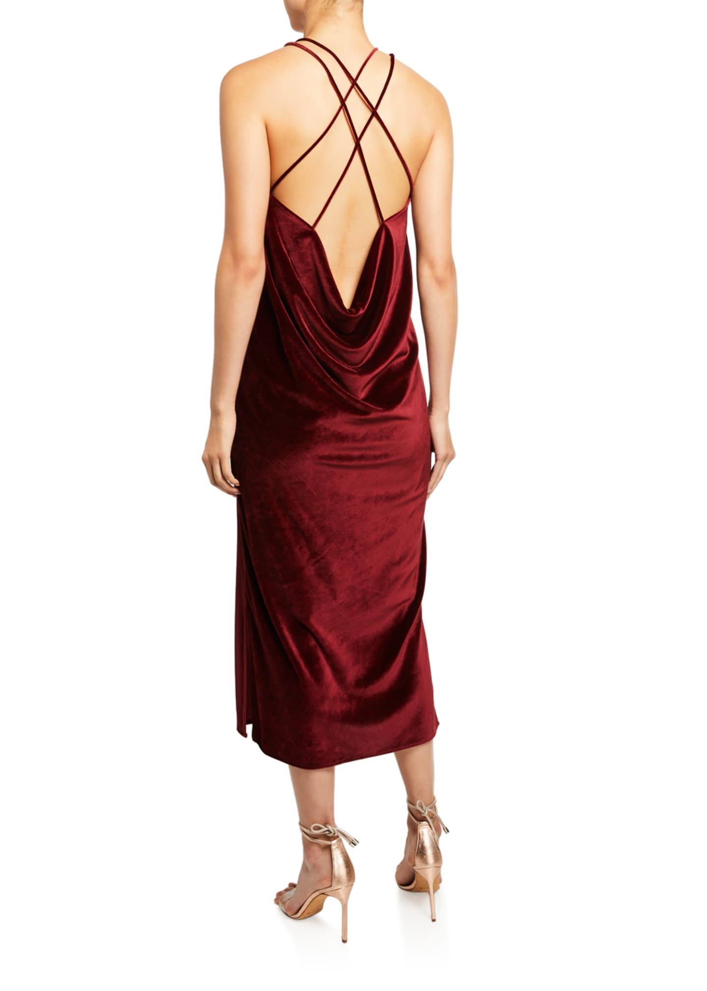Image 2 of 3: Velvet Draped Back Dress