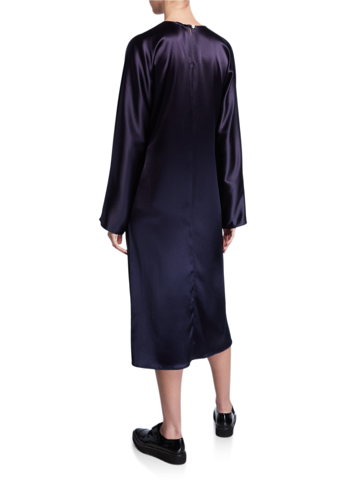 Image 2 of 2: Charmeuse Long-Sleeve Dress
