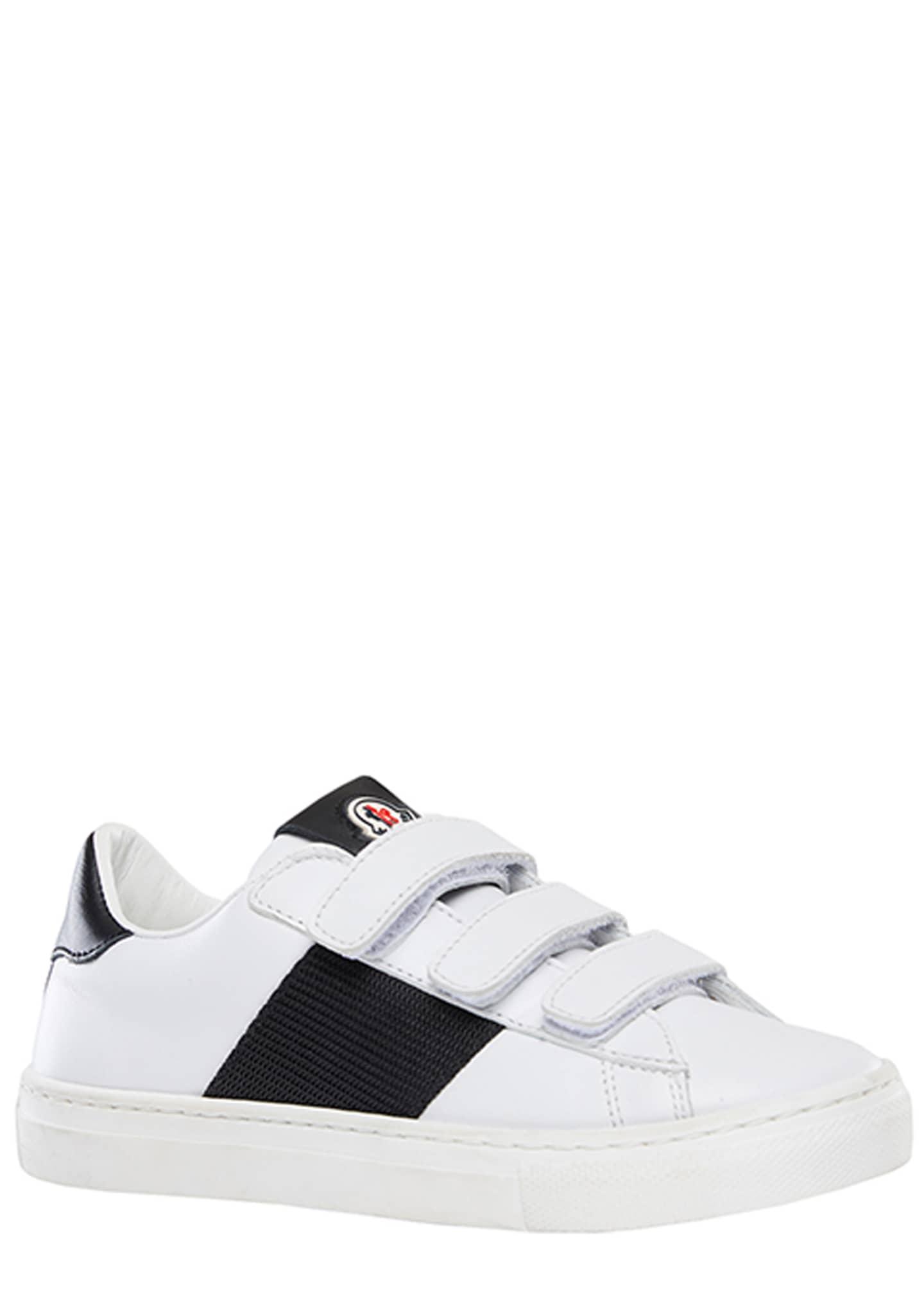 Moncler Mel Leather Grip-Strap Sneakers, Toddler/Kids