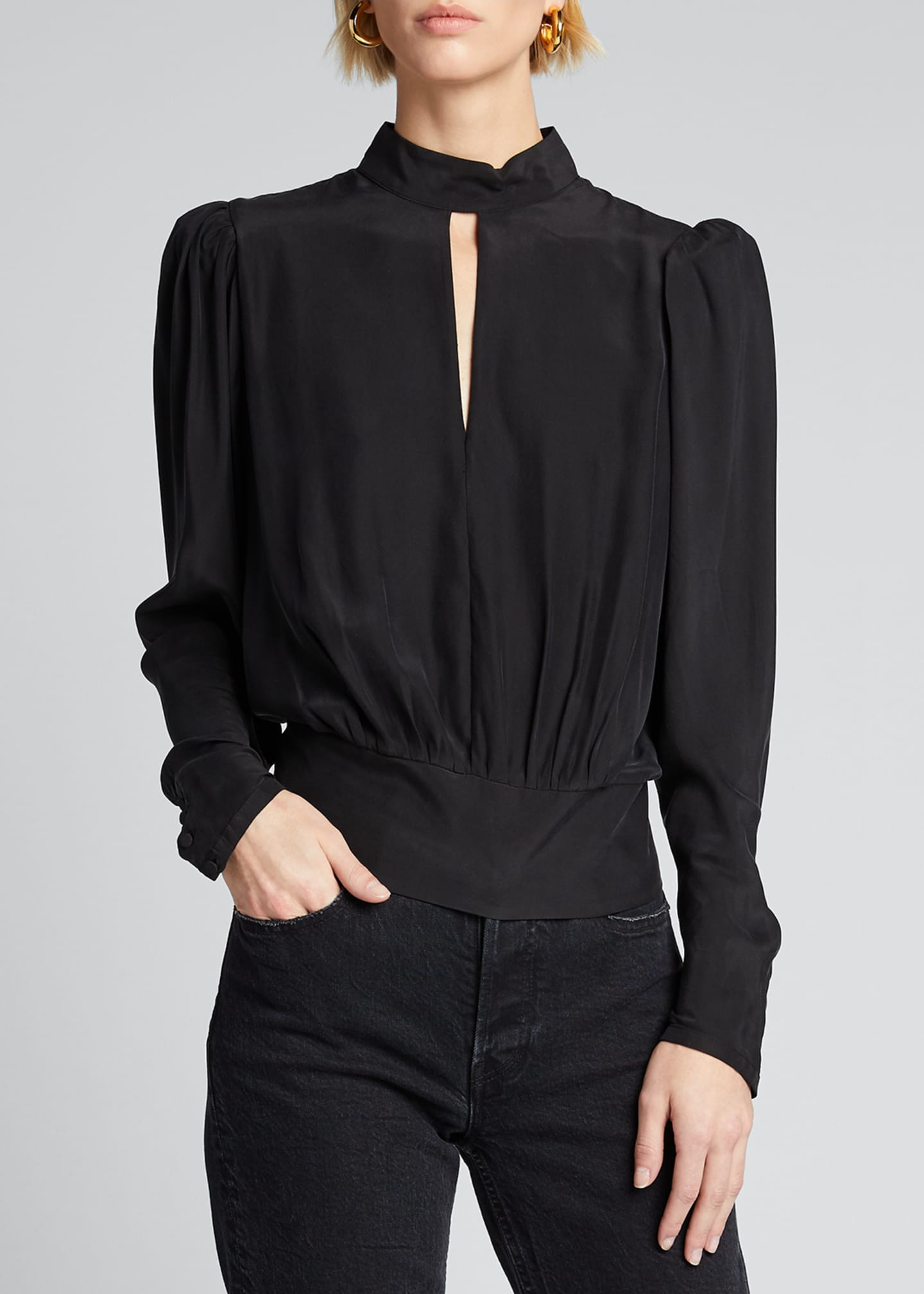 Image 3 of 5: Luxe Keyhole-Front Long-Sleeve Top