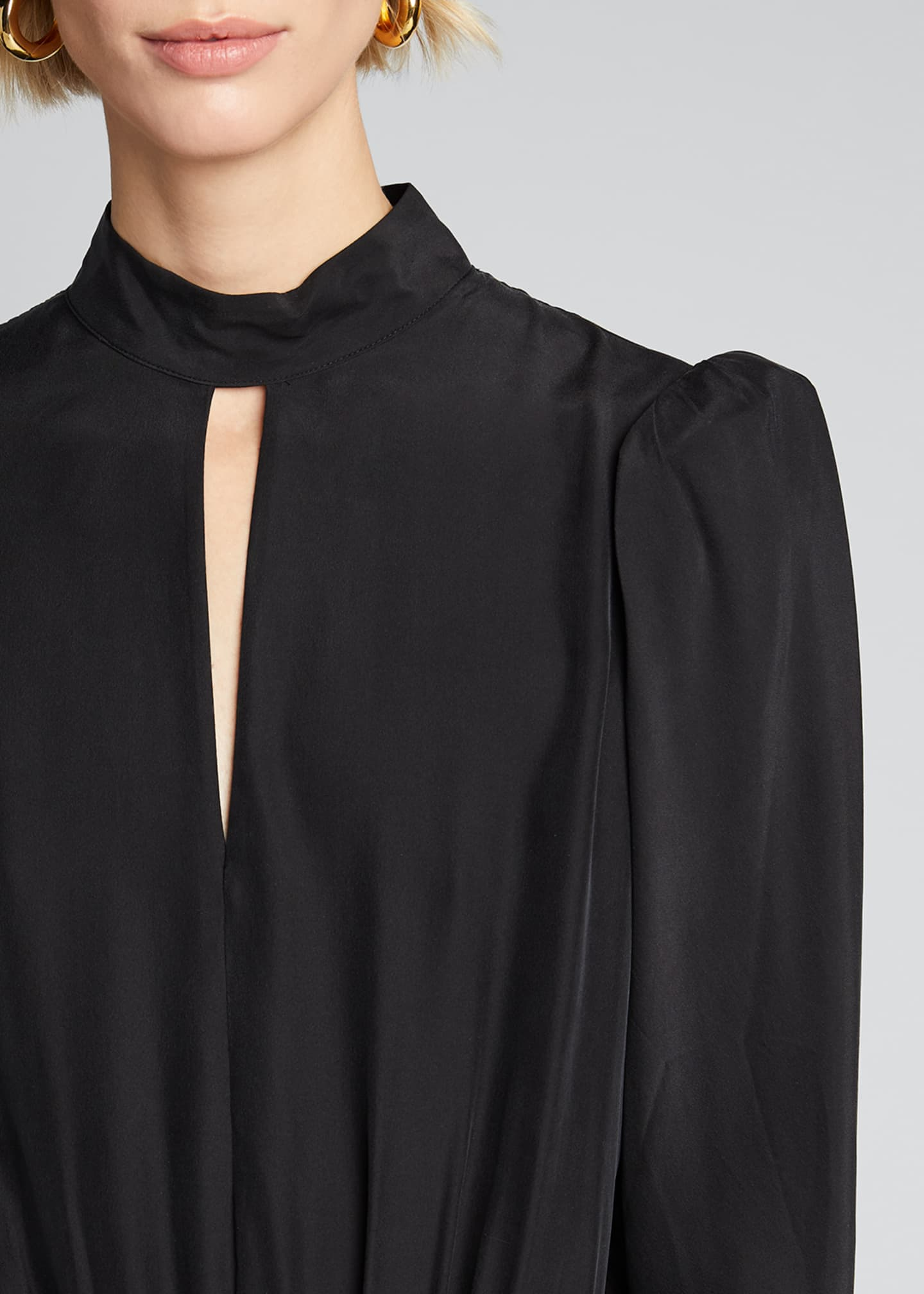 Image 4 of 5: Luxe Keyhole-Front Long-Sleeve Top