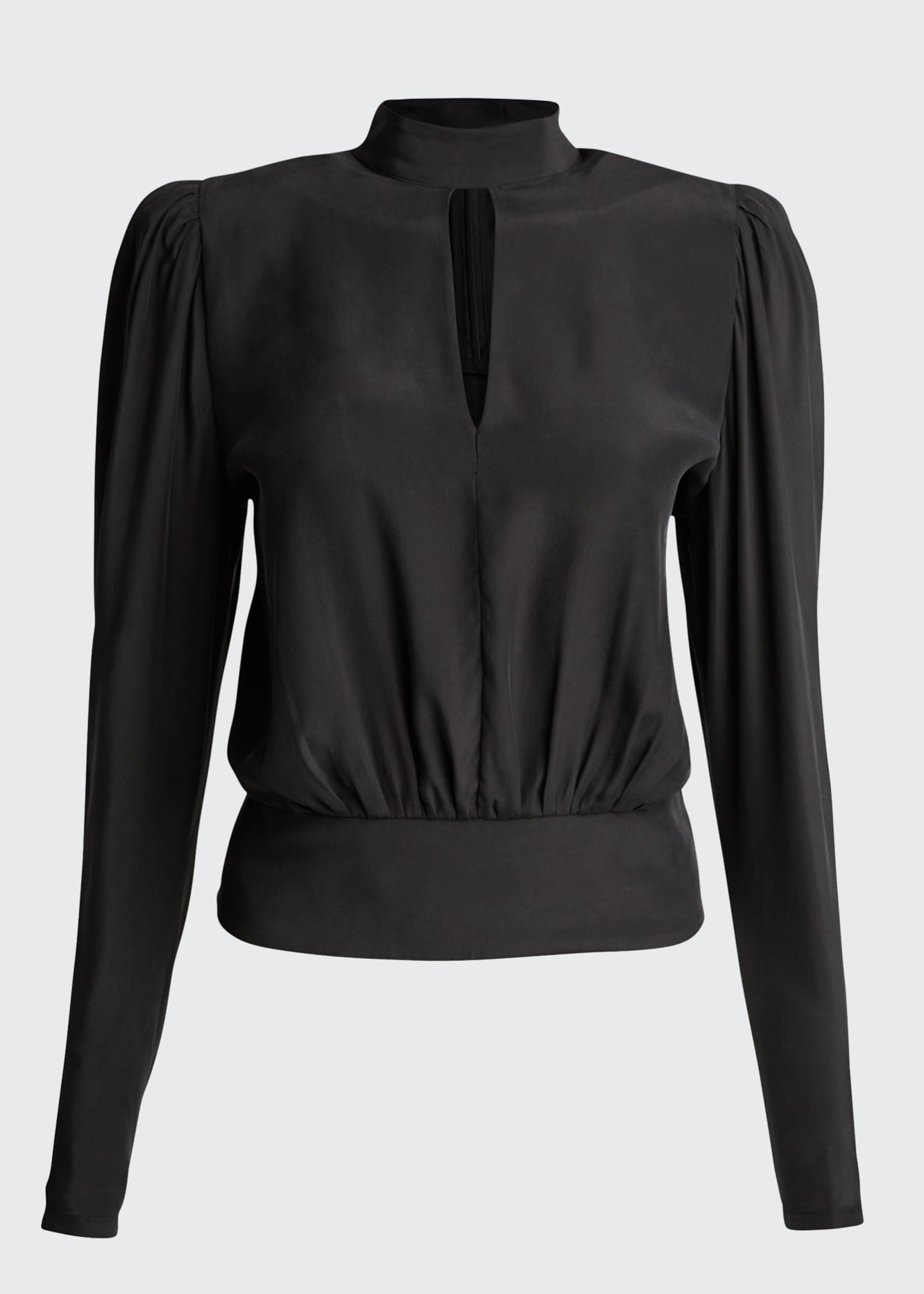 Image 5 of 5: Luxe Keyhole-Front Long-Sleeve Top