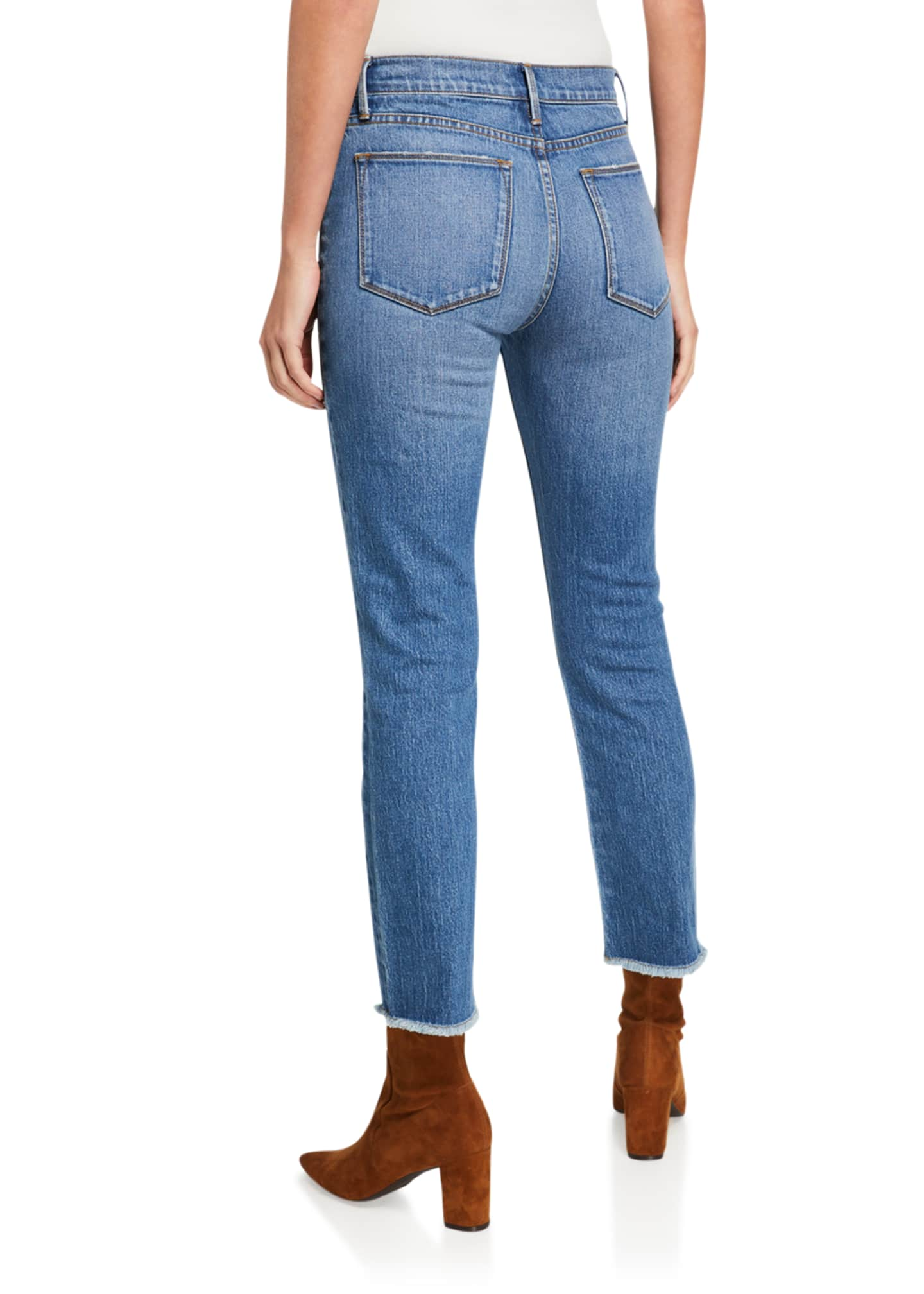 Image 2 of 3: Le High Straight Ankle Jeans with Python Patchwork