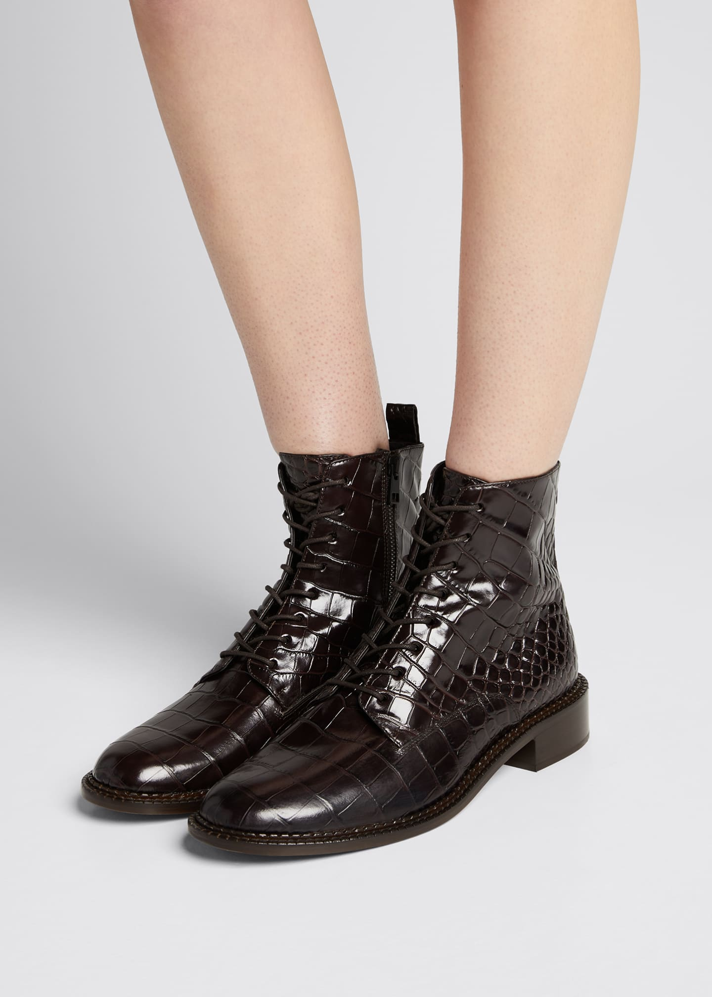 Image 2 of 5: Cabria Embossed Lace-Up Booties