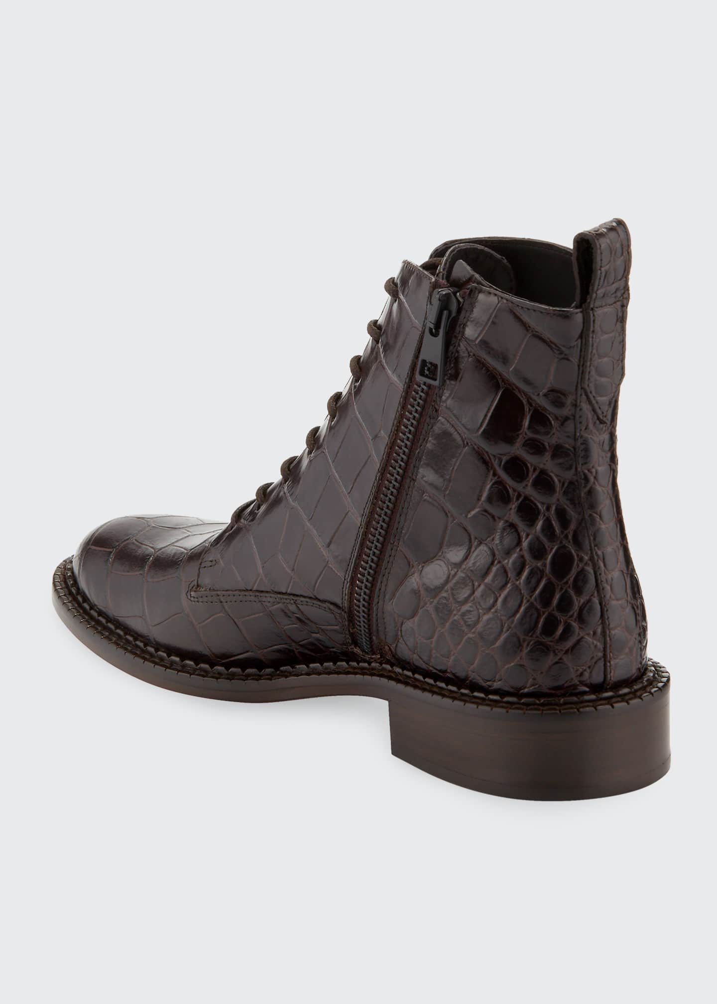 Image 4 of 5: Cabria Embossed Lace-Up Booties