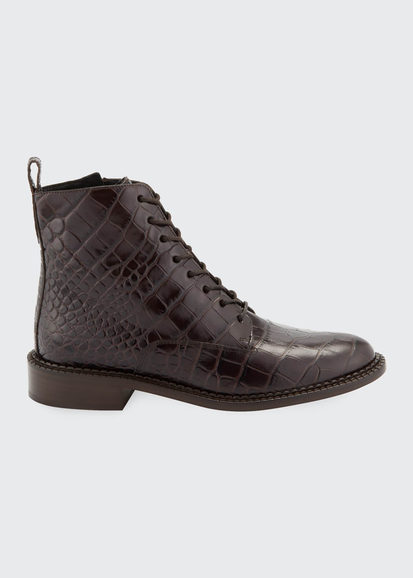 Image 1 of 5: Cabria Embossed Lace-Up Booties
