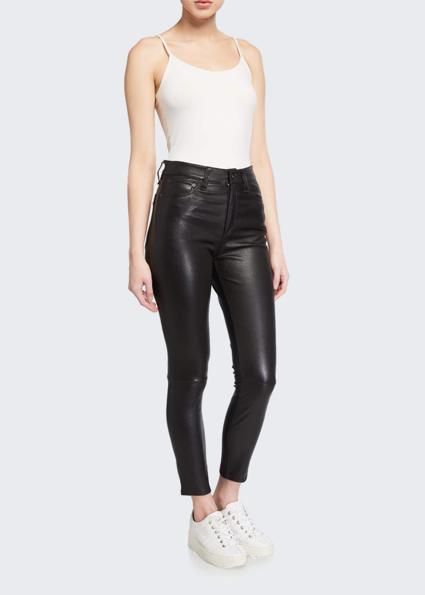 Image 1 of 3: Nina Leather High-Rise Pants