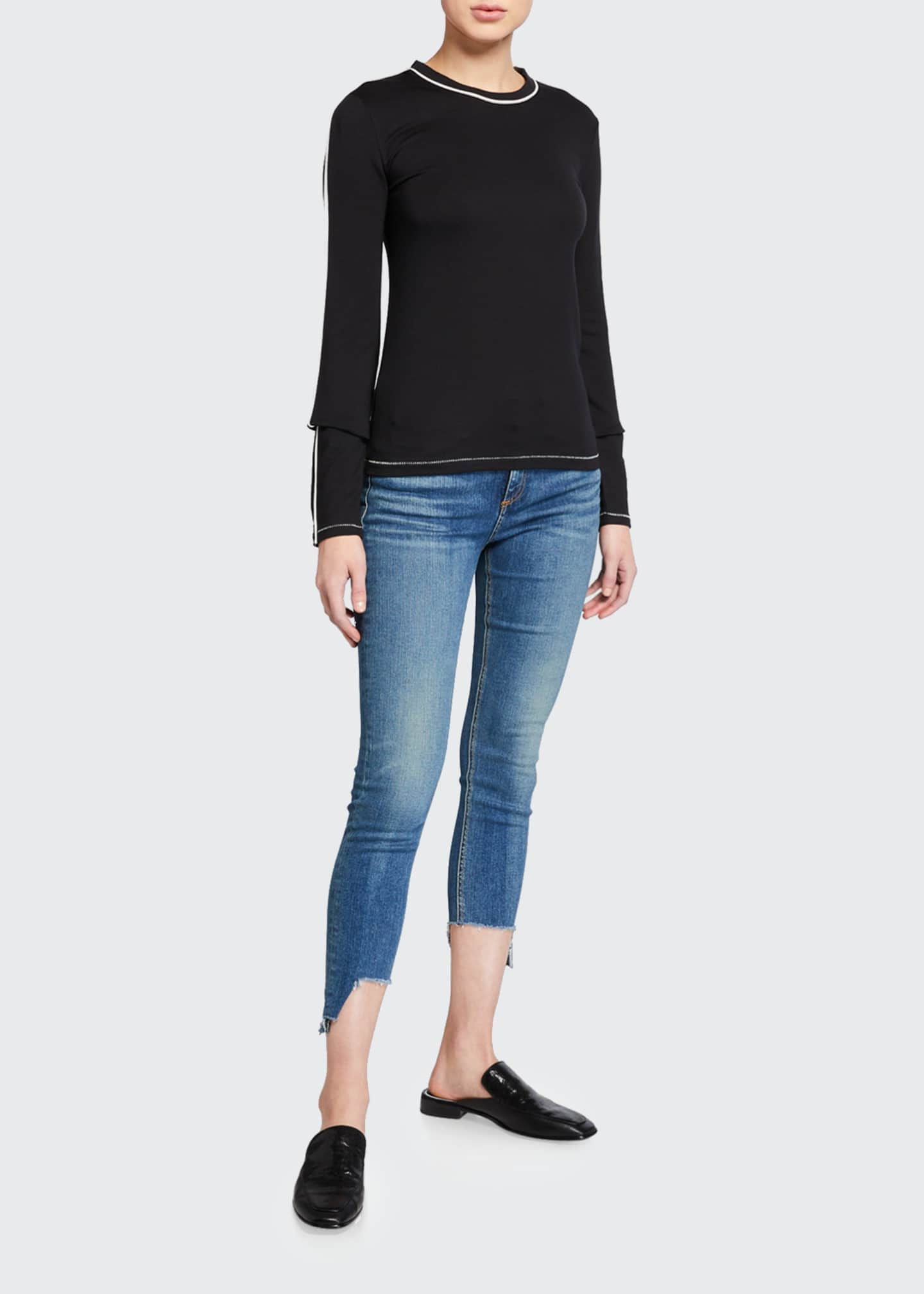 Image 3 of 3: Cate Mid-Rise Skinny Jeans with Step-Hem