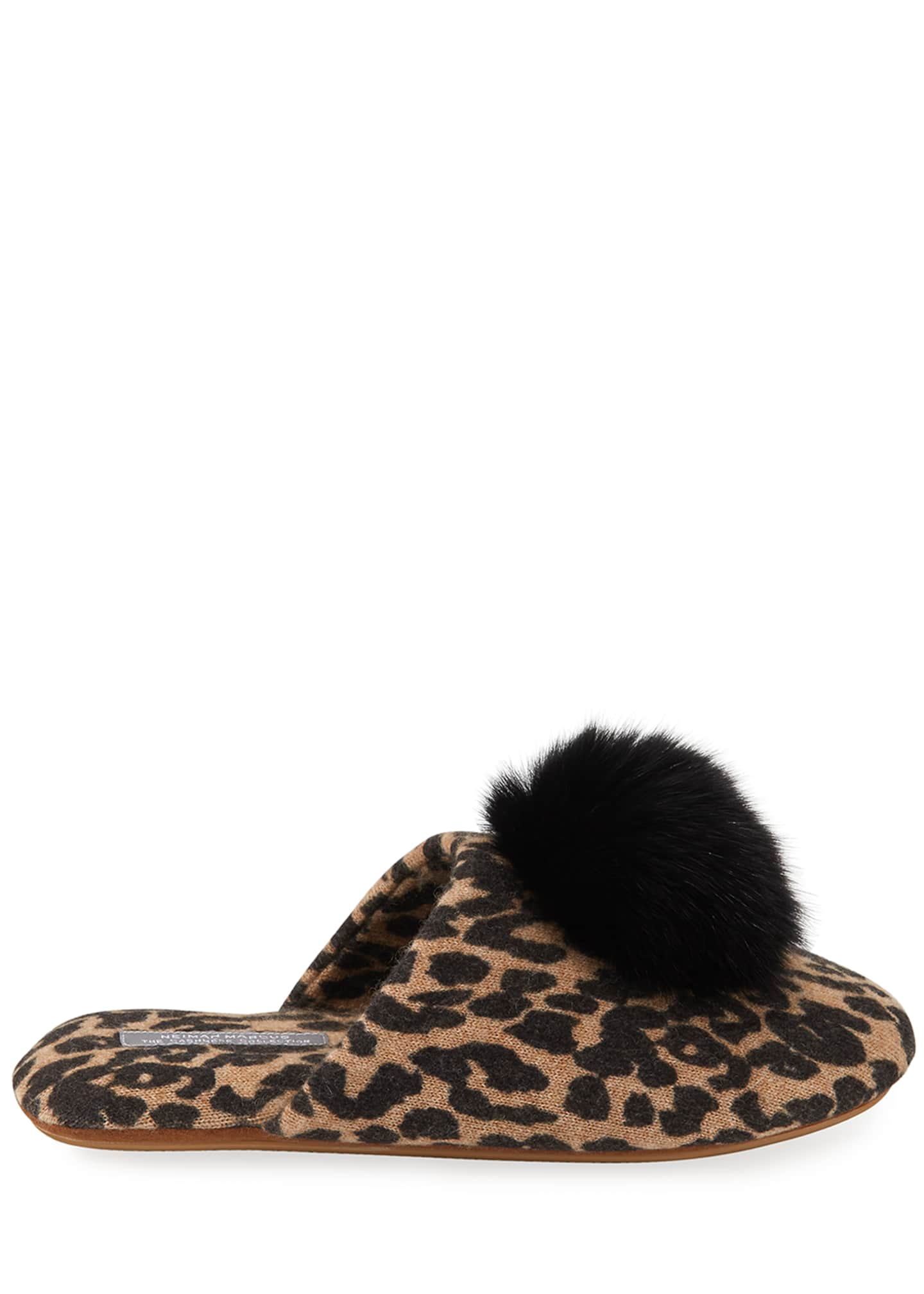 Image 2 of 3: Leopard-Print Cashmere Fox Fur-Trim Slippers