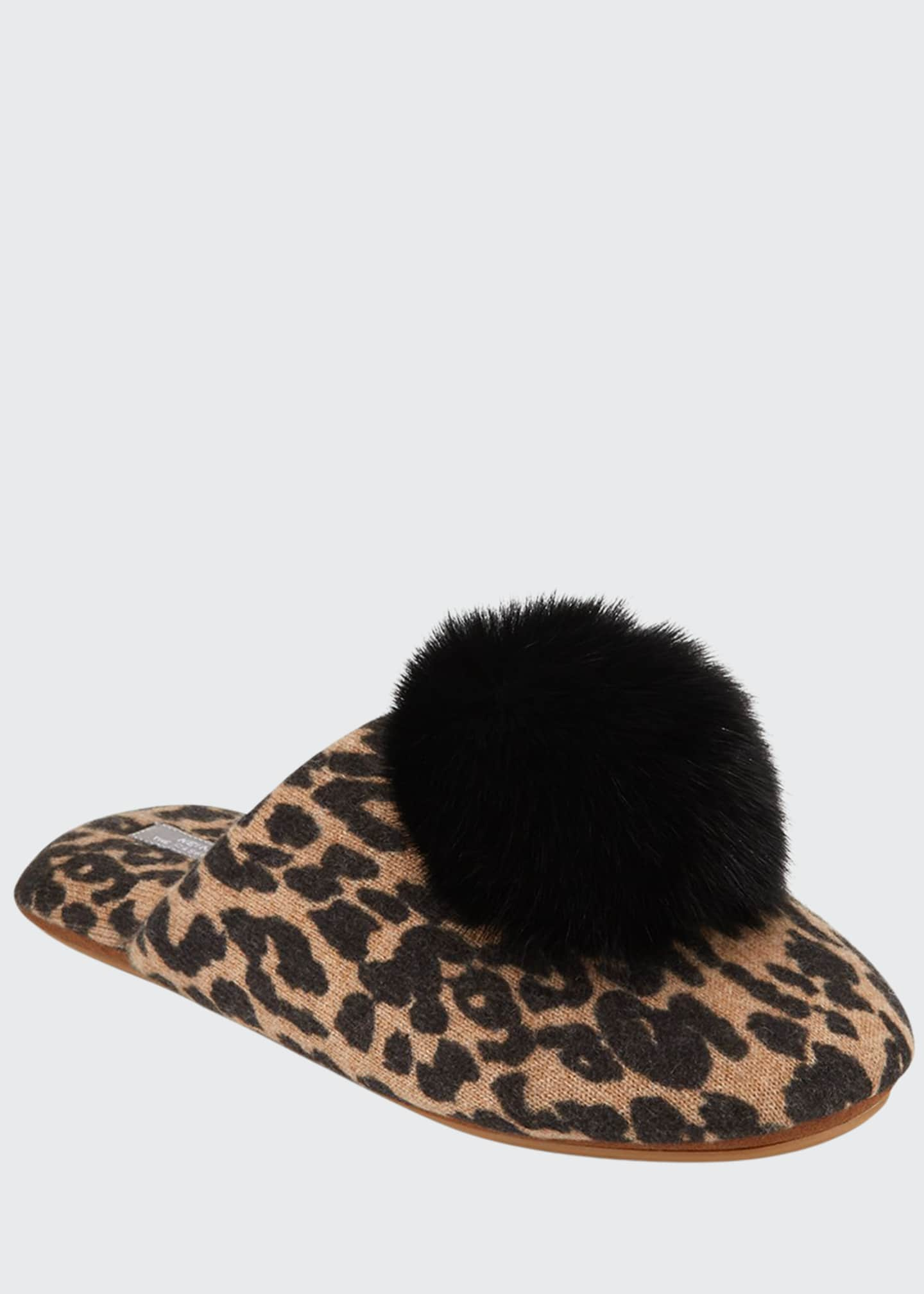 Image 1 of 3: Leopard-Print Cashmere Fox Fur-Trim Slippers