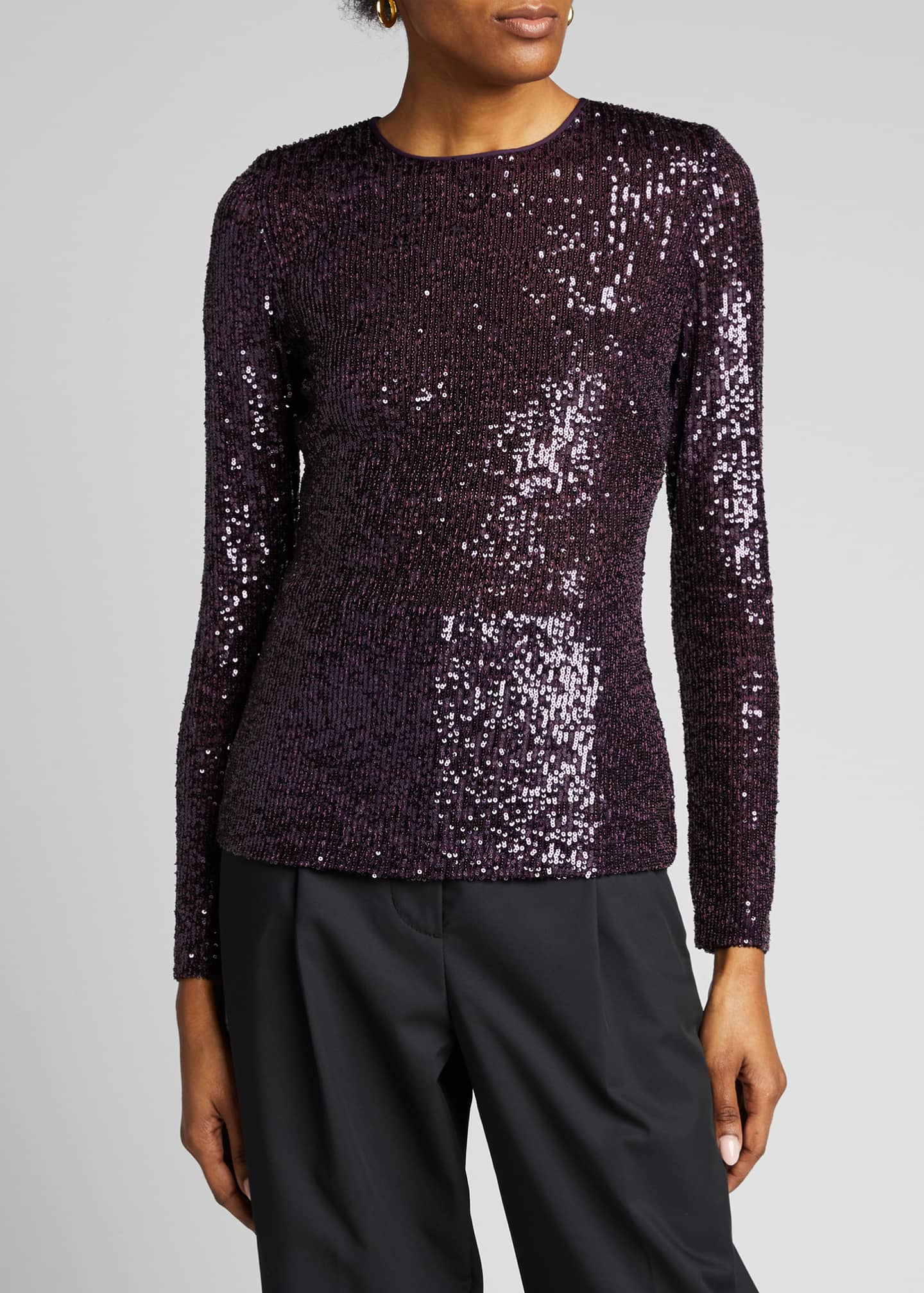 Image 3 of 5: Long-Sleeve Sequined Top
