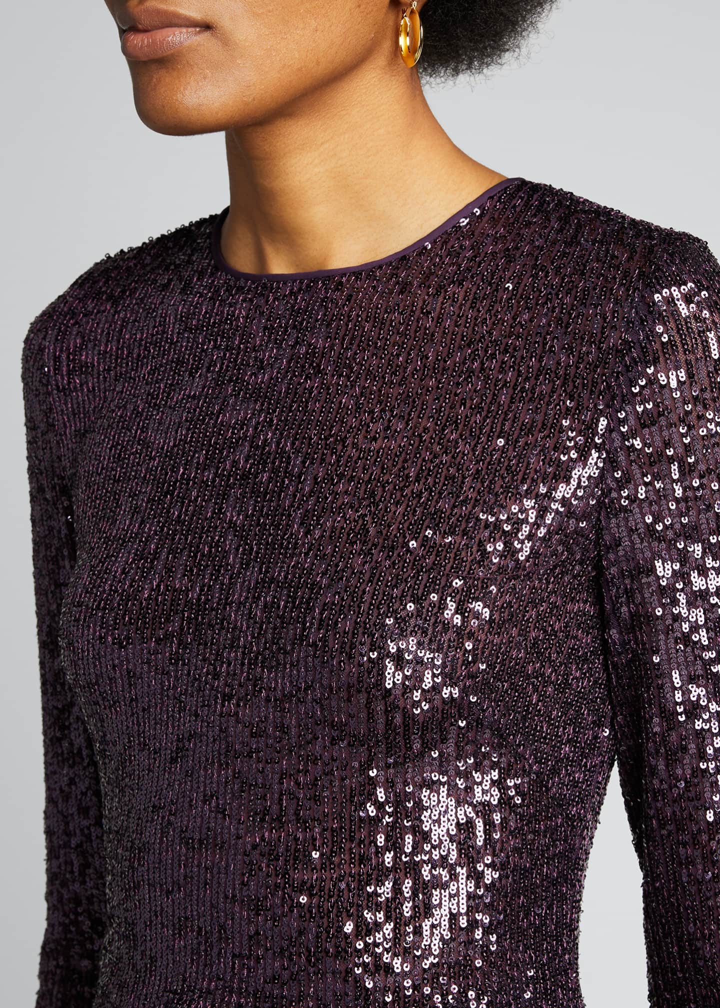 Image 4 of 5: Long-Sleeve Sequined Top