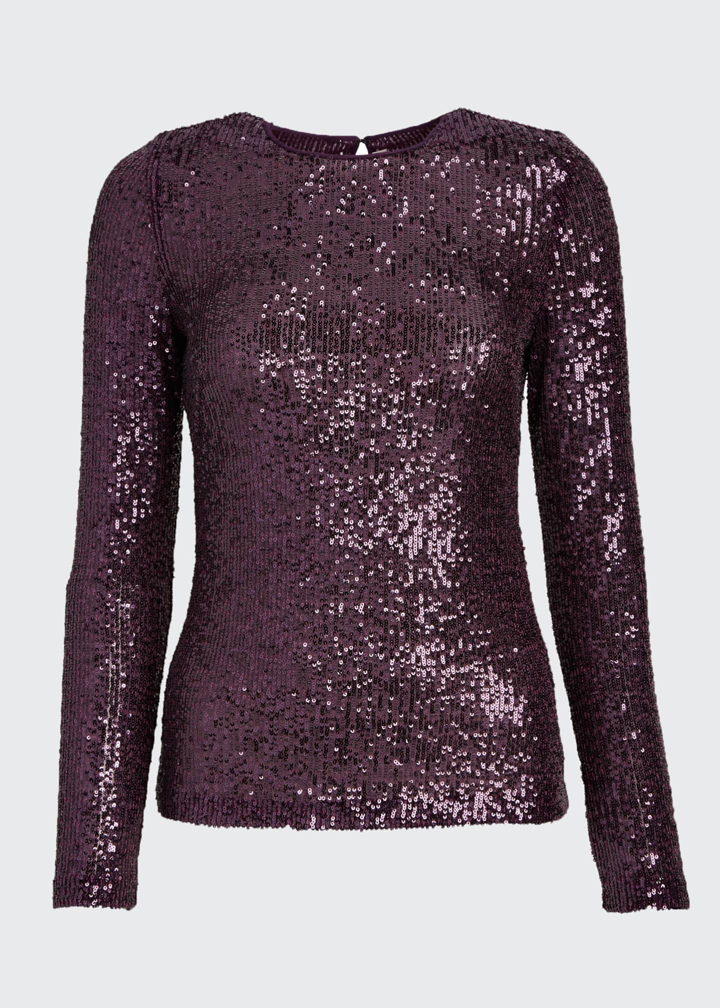 Image 5 of 5: Long-Sleeve Sequined Top