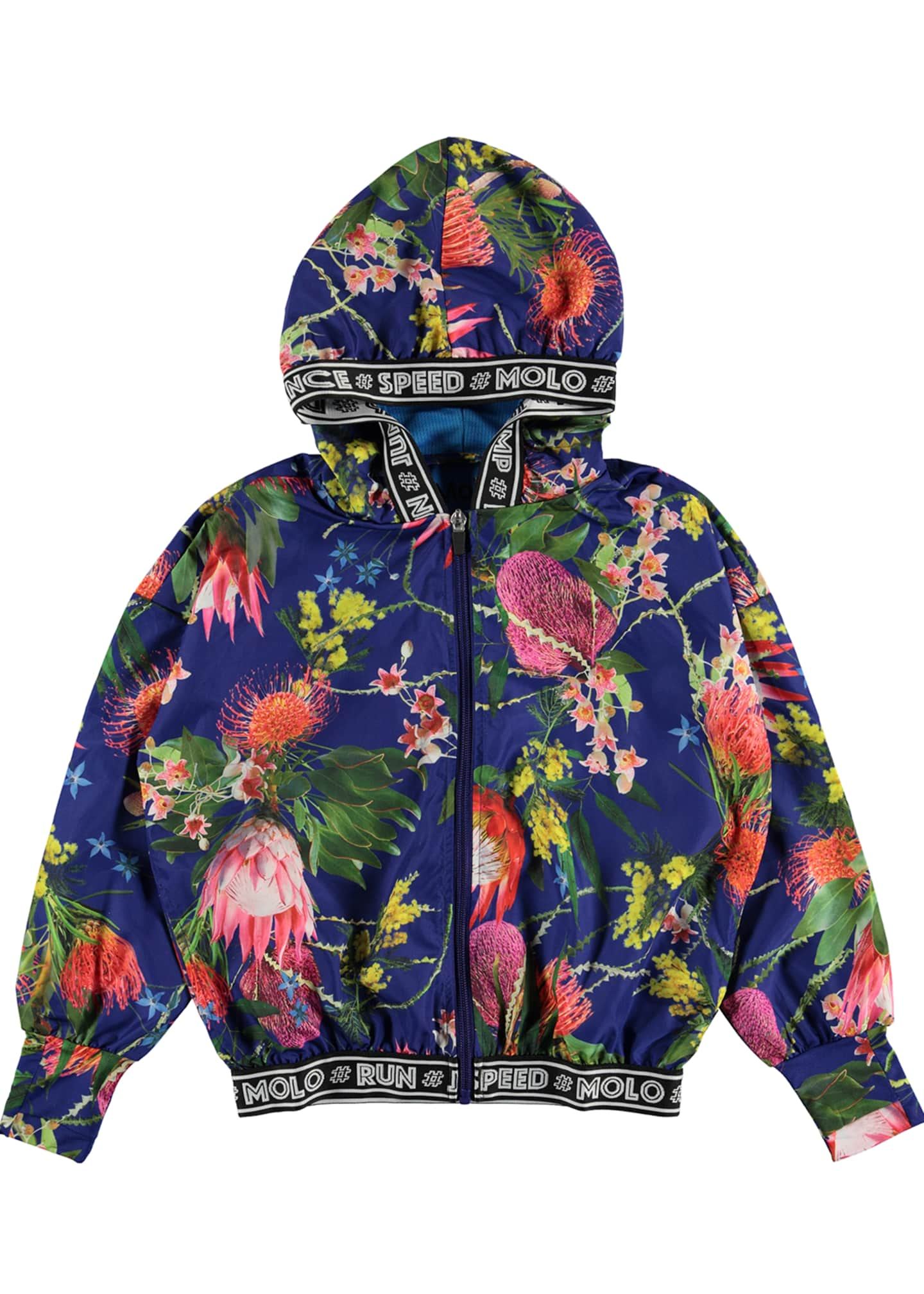 Molo Girl's Ophelia Floral Print Zip-Up Hooded Jacket,