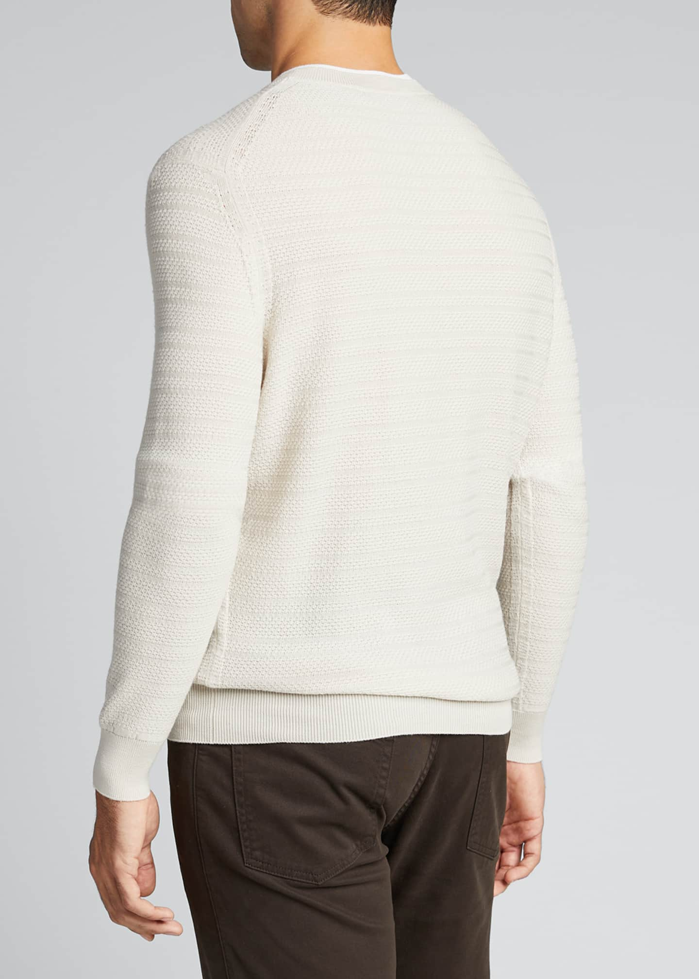 Image 2 of 5: Men's Textured-Stripe Performance Wool Sweater