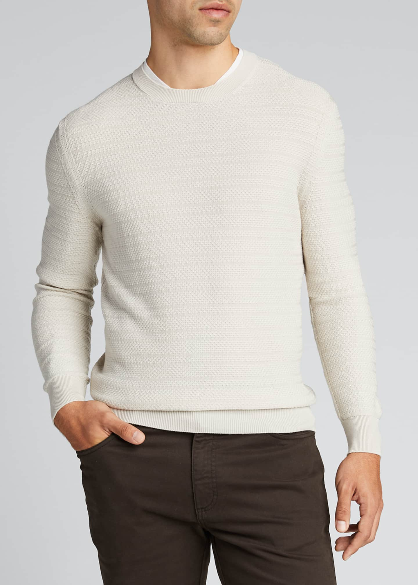 Image 3 of 5: Men's Textured-Stripe Performance Wool Sweater