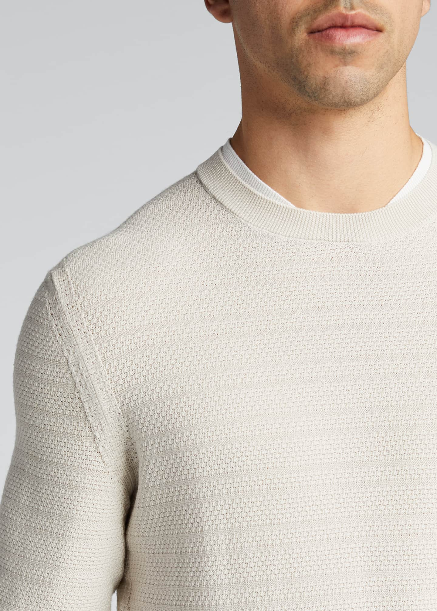 Image 4 of 5: Men's Textured-Stripe Performance Wool Sweater