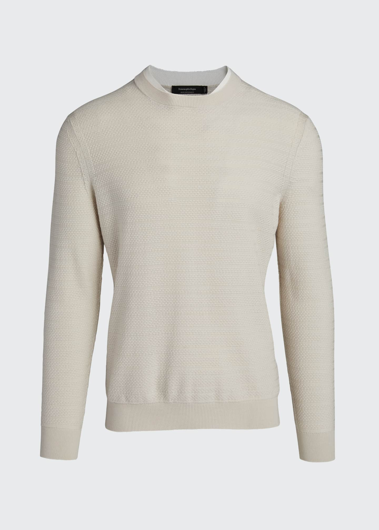 Image 5 of 5: Men's Textured-Stripe Performance Wool Sweater