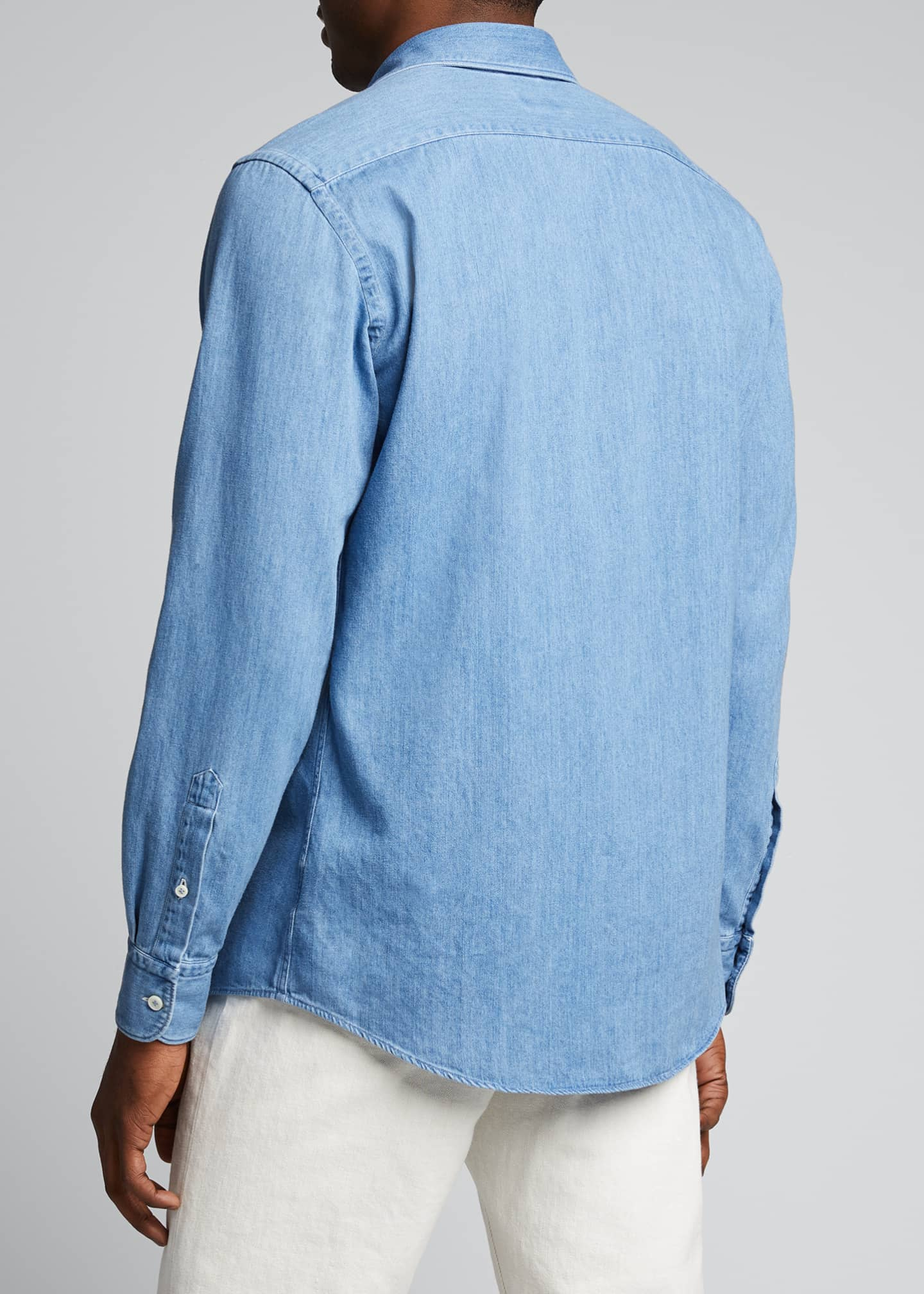 Image 2 of 5: Men's Light-Wash Denim Trim-Fit Sport Shirt