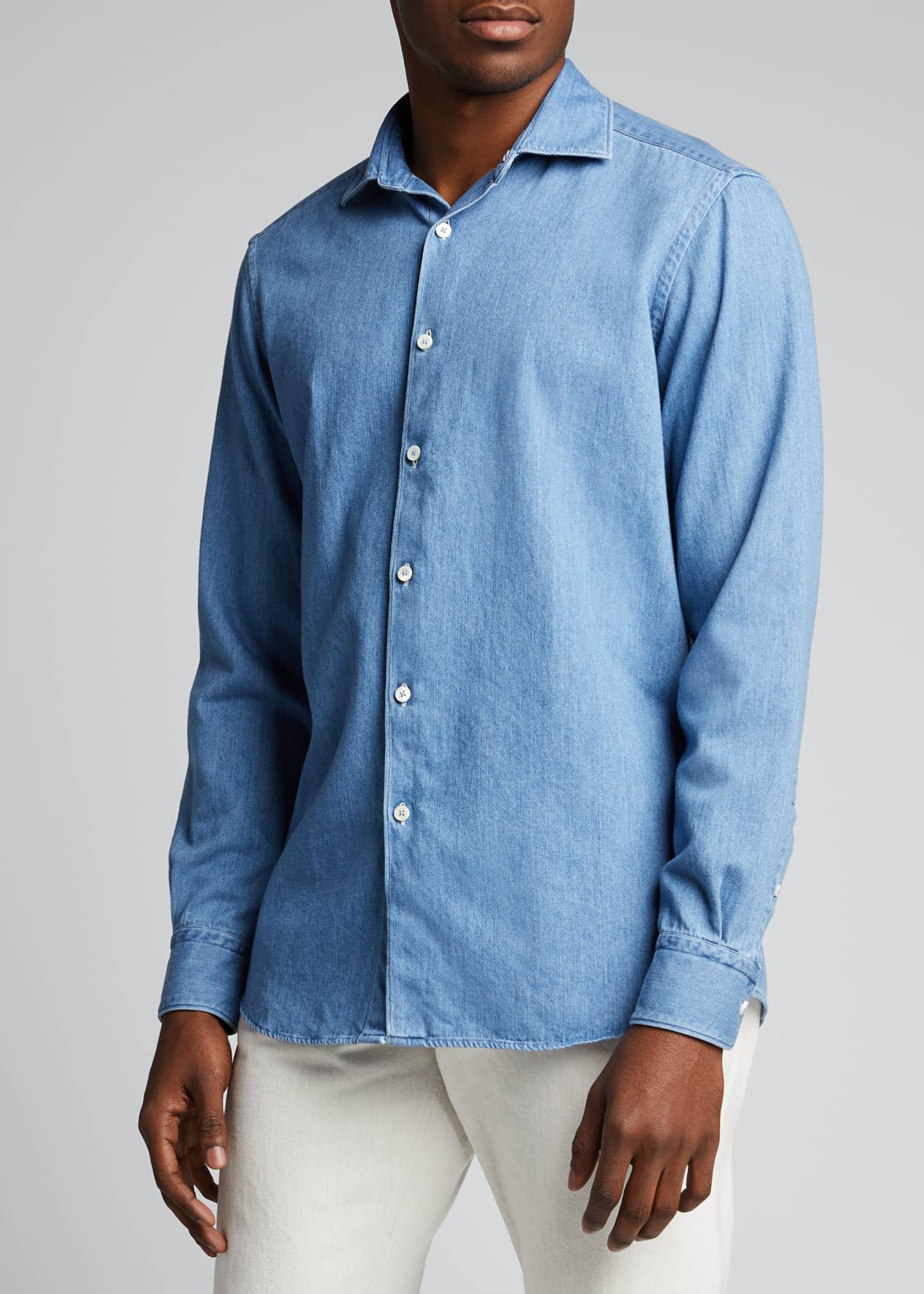 Image 3 of 5: Men's Light-Wash Denim Trim-Fit Sport Shirt