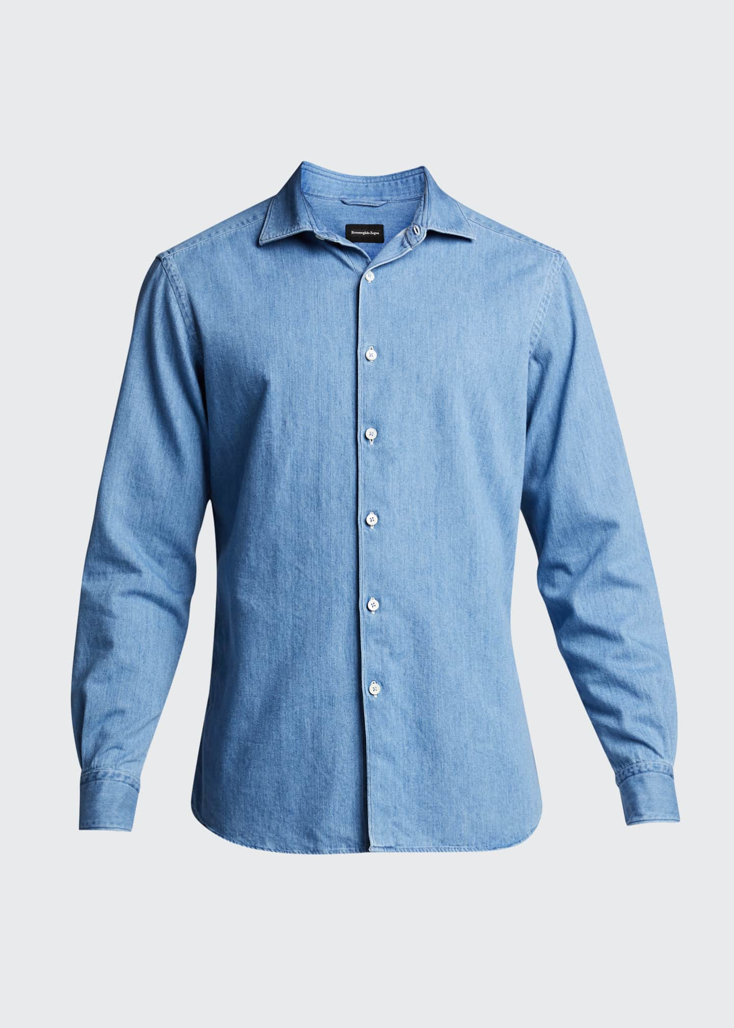 Image 5 of 5: Men's Light-Wash Denim Trim-Fit Sport Shirt
