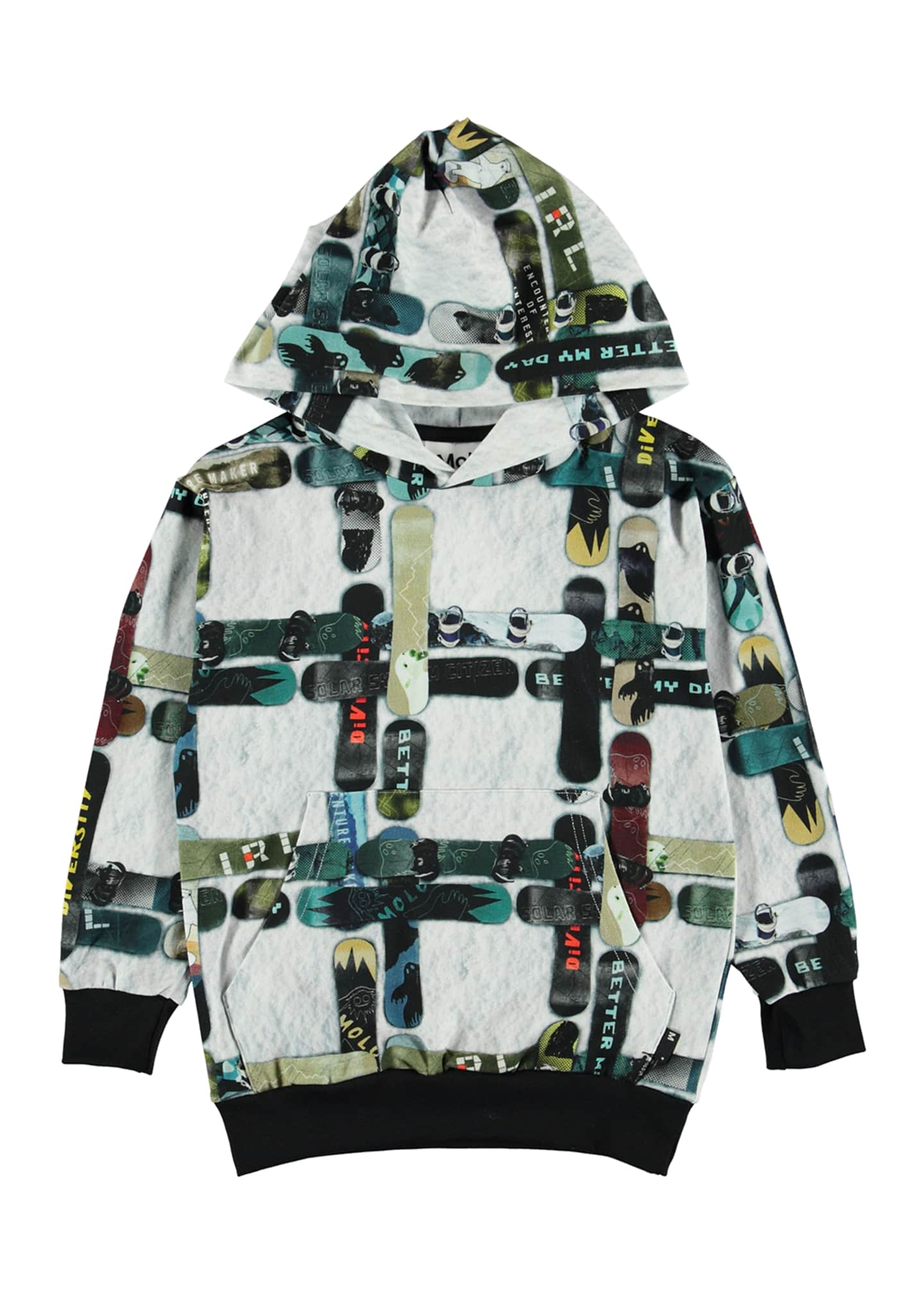 Molo Boy's Romo Checked Snowboard Print Hooded Tee,