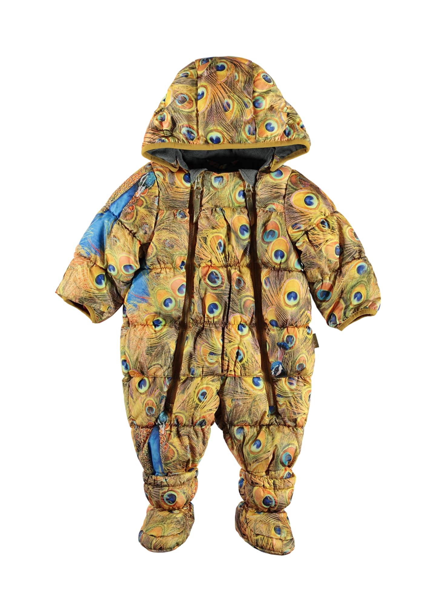Molo Hebe Water-Repellant Peacock Feather Print Puffer Snowsuit,