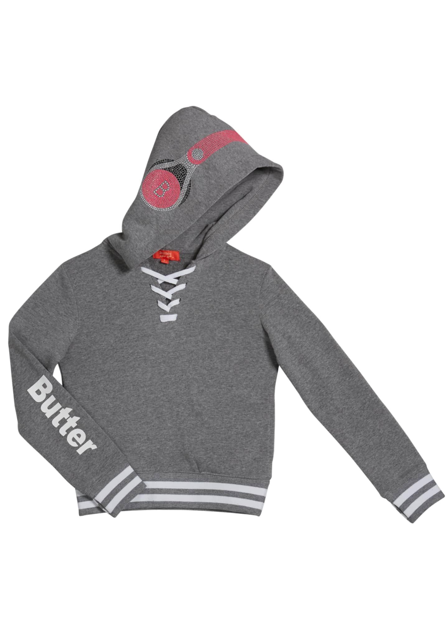 Butter Girl's Dance Mix Studded Hoodie Sweatshirt, Size