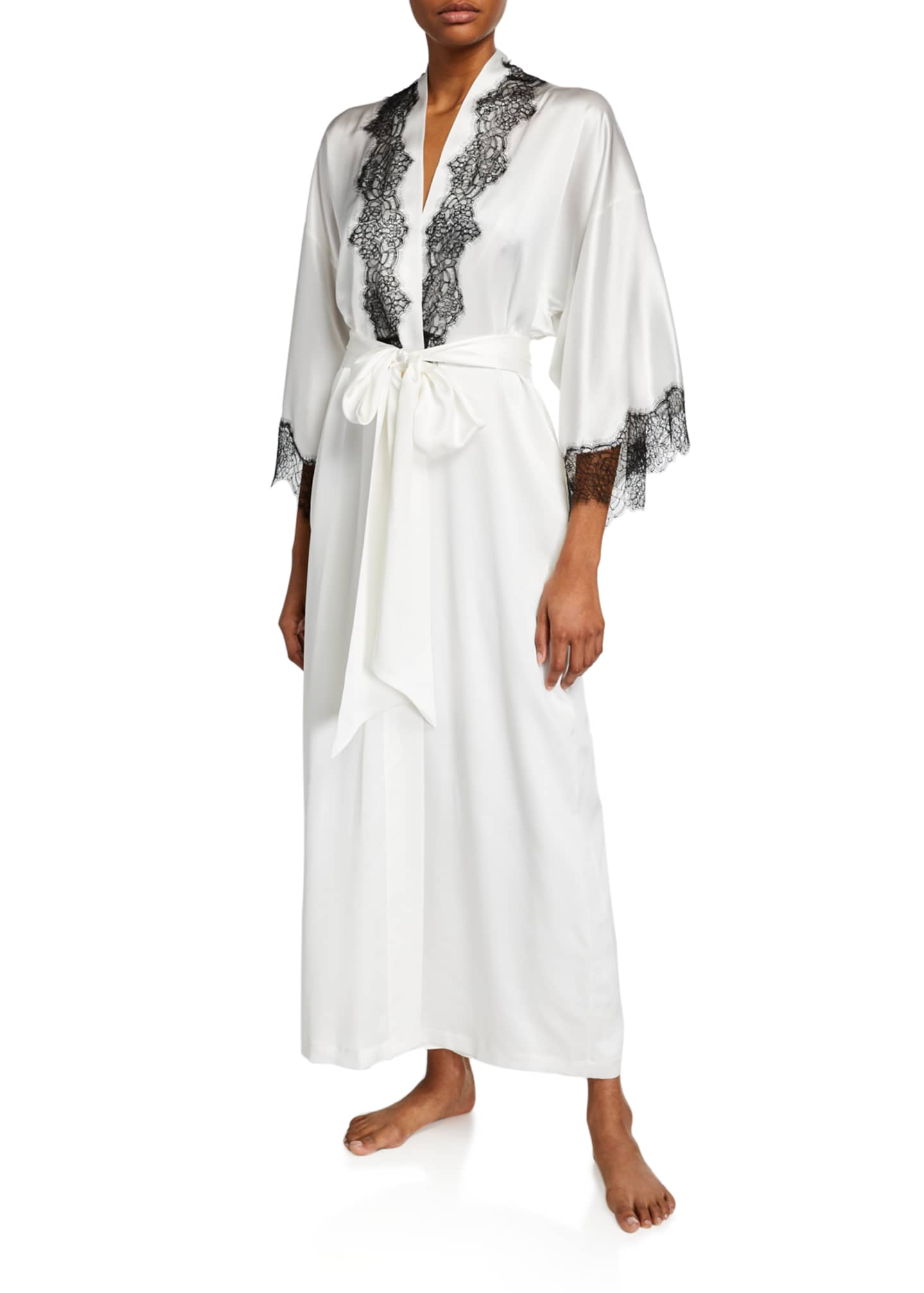 Christine Lingerie Arabella Lace-Trim Silk Robe
