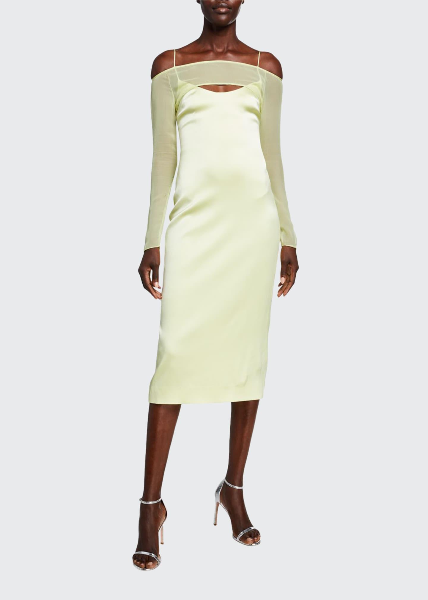 CUSHNIE Fluid Satin Strappy Sheer-Sleeve Dress