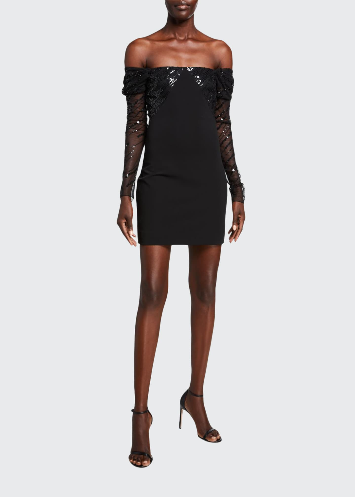 CUSHNIE Off-the-Shoulder Sequined Mini Dress
