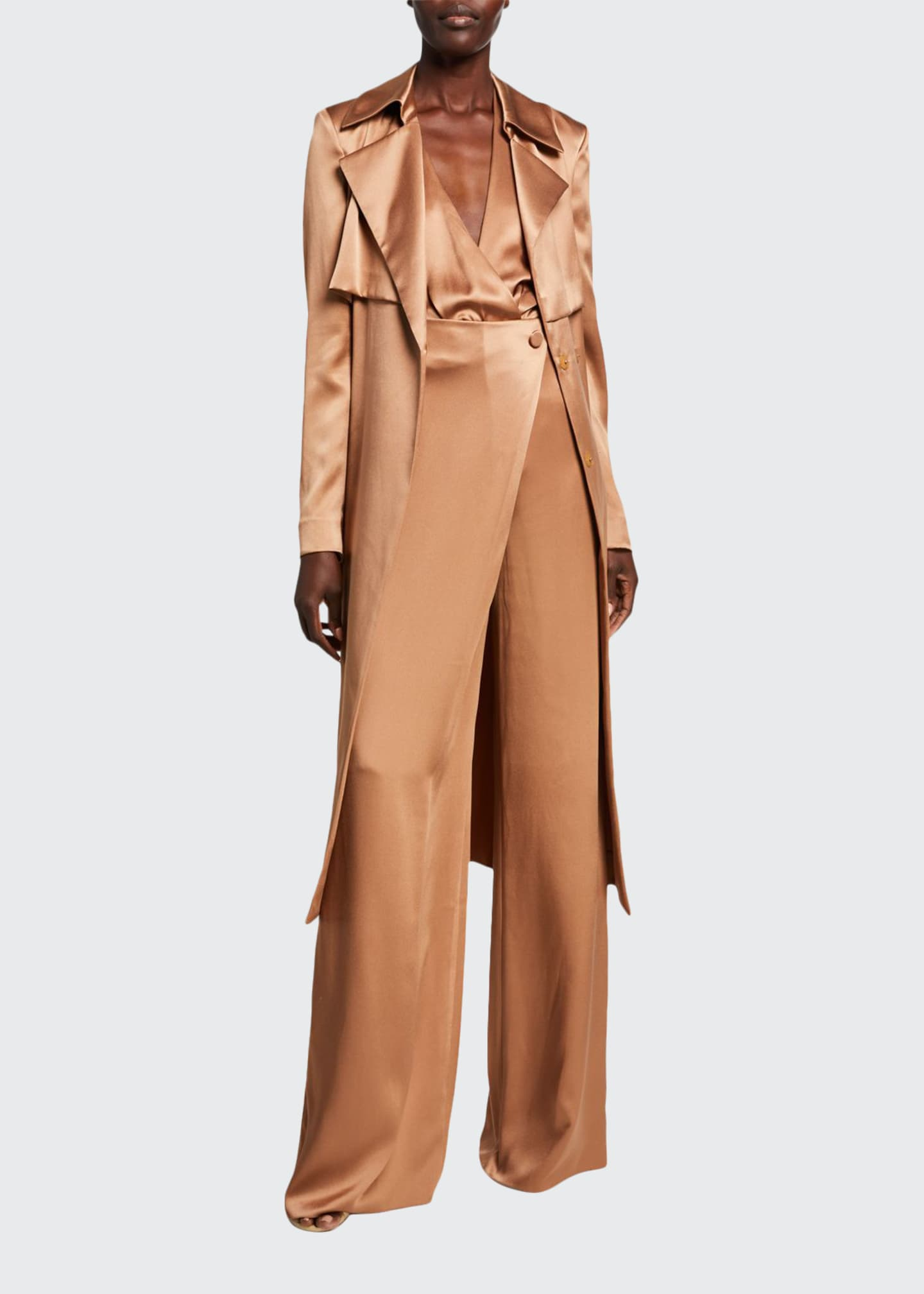 CUSHNIE Double-Charmeuse Asymmetric Trench Coat