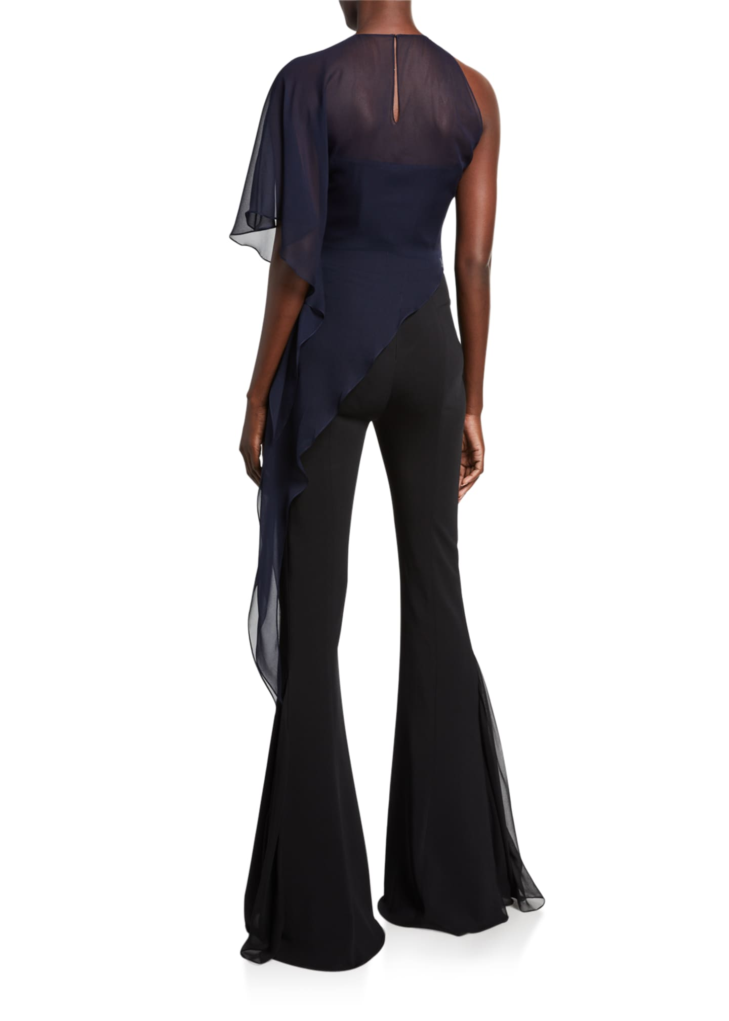 Image 2 of 2: Chiffon One-Shoulder Asymmetric Top