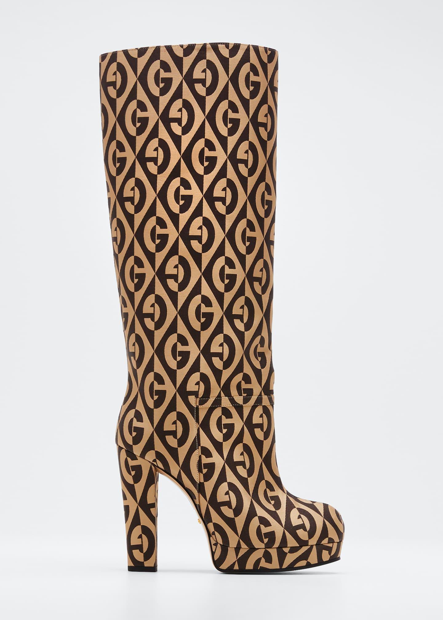 Gucci Knee-High G Platform Boots