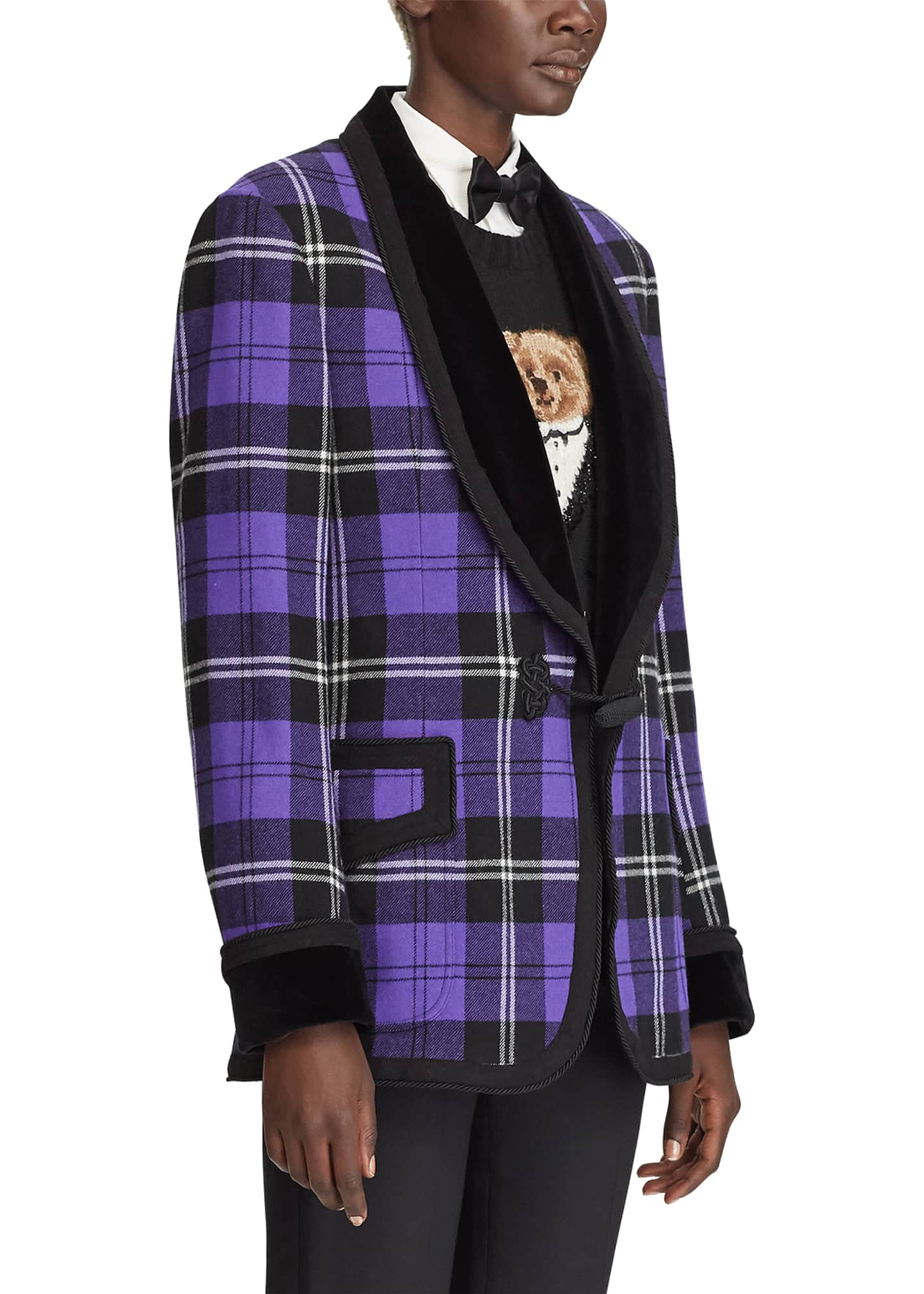 Image 3 of 4: Wilde Plaid Velvet-Lapel Tuxedo Jacket