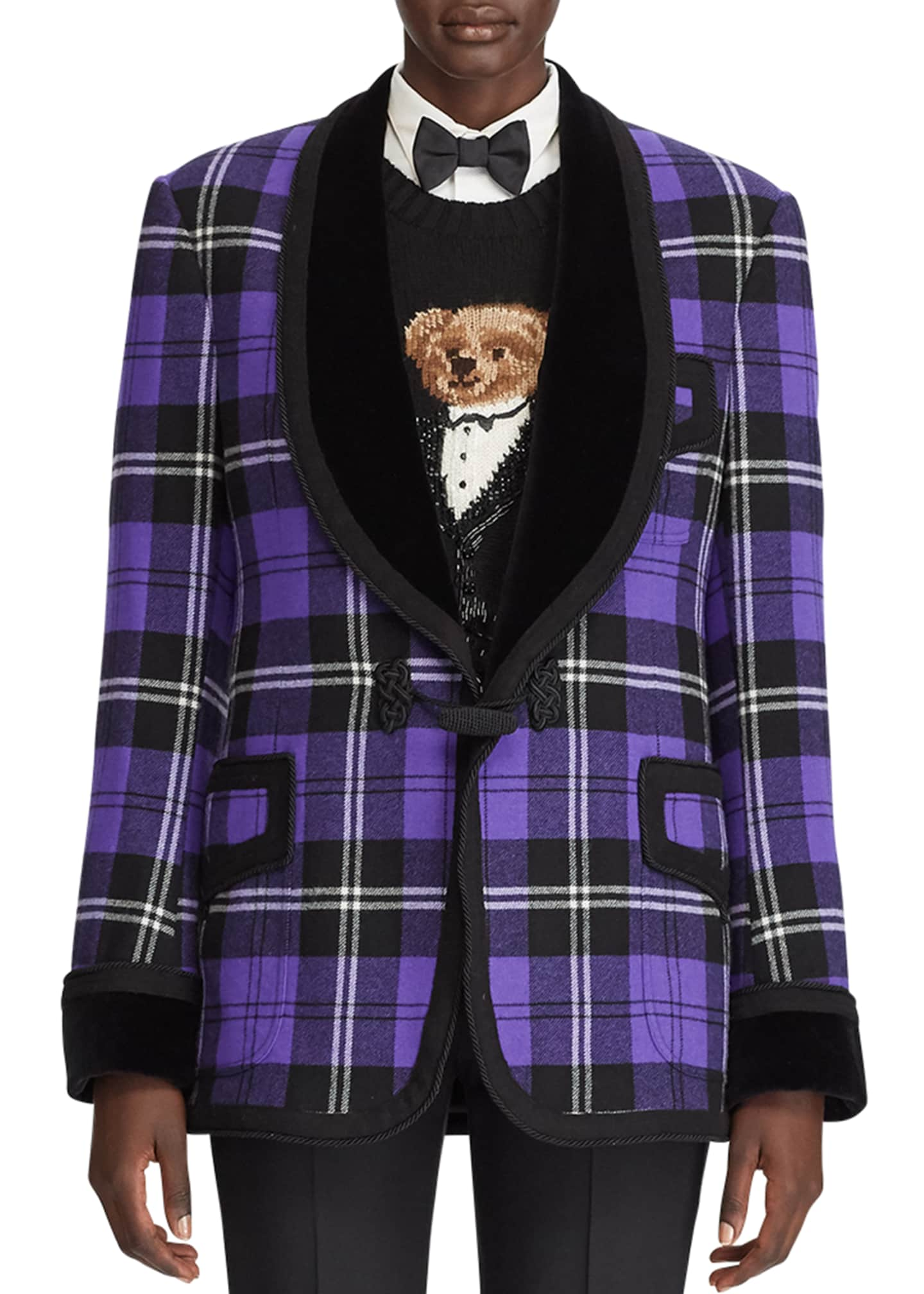 Image 4 of 4: Wilde Plaid Velvet-Lapel Tuxedo Jacket