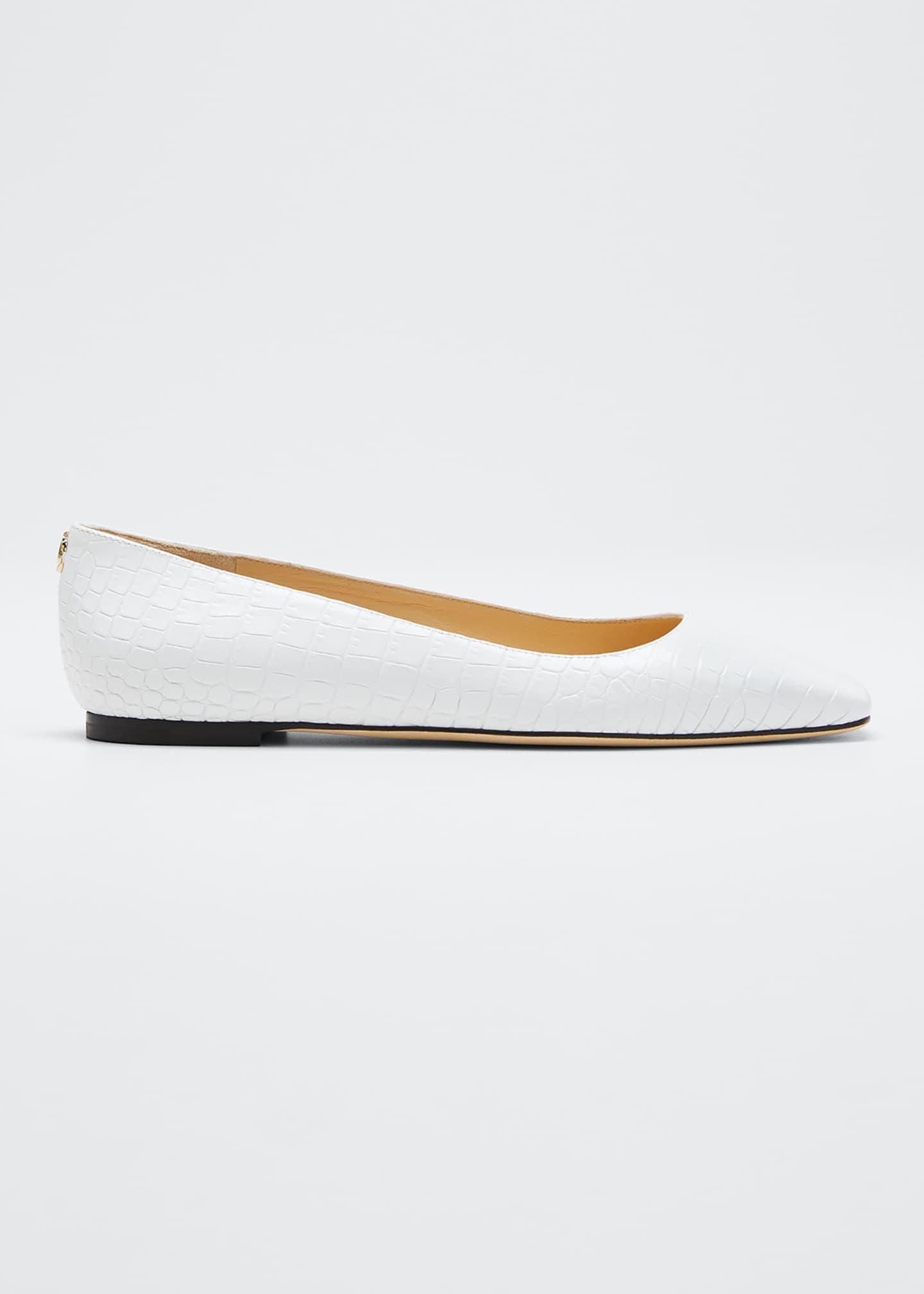 Jimmy Choo Mirele Croc-Embossed Ballet Flats