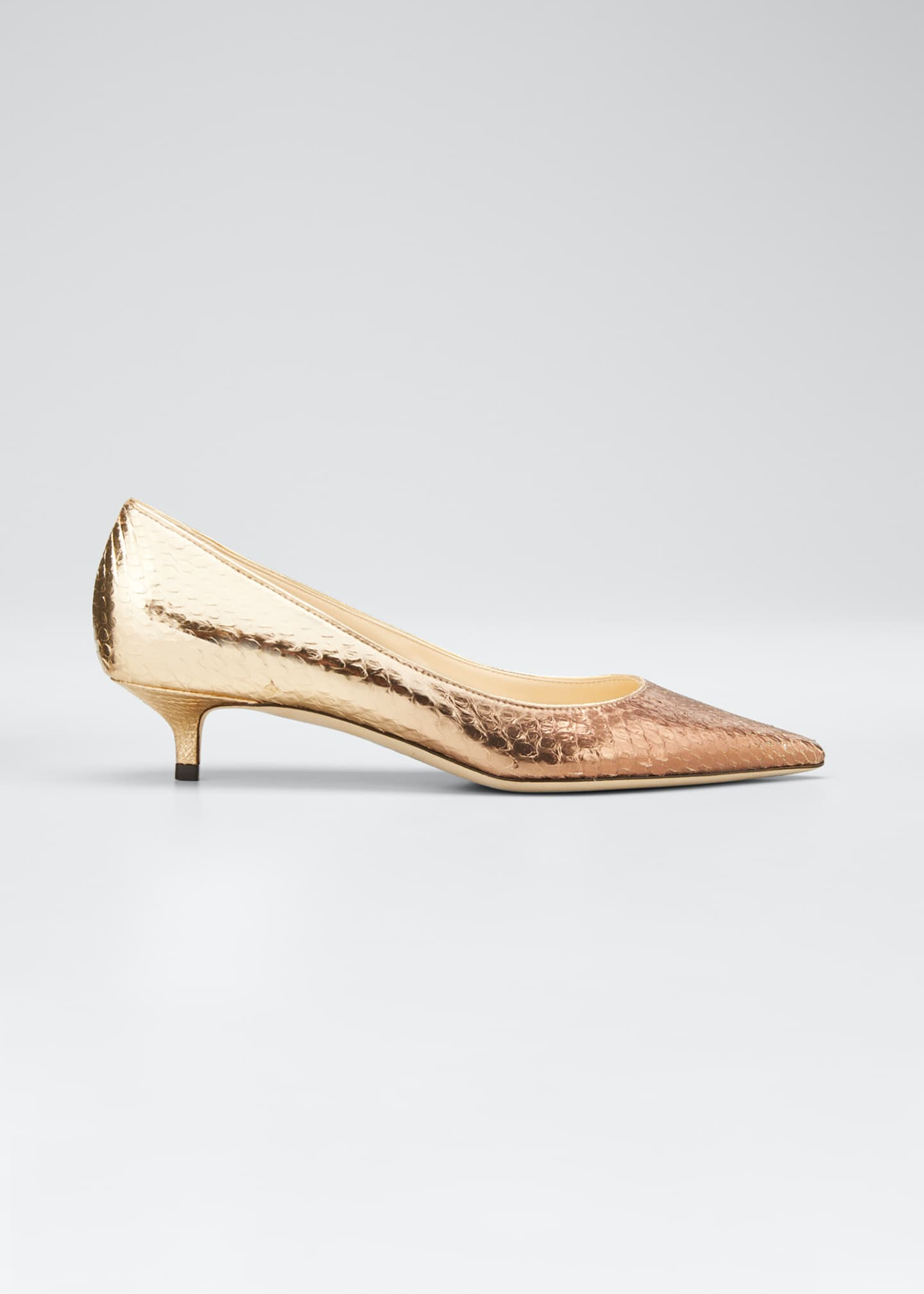 Jimmy Choo Amelia Snake-Printed Metallic Pumps