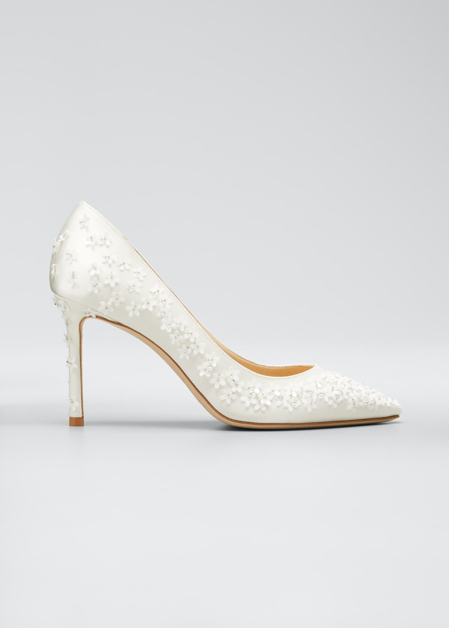 Jimmy Choo Romy Flower Studded Satin Pumps