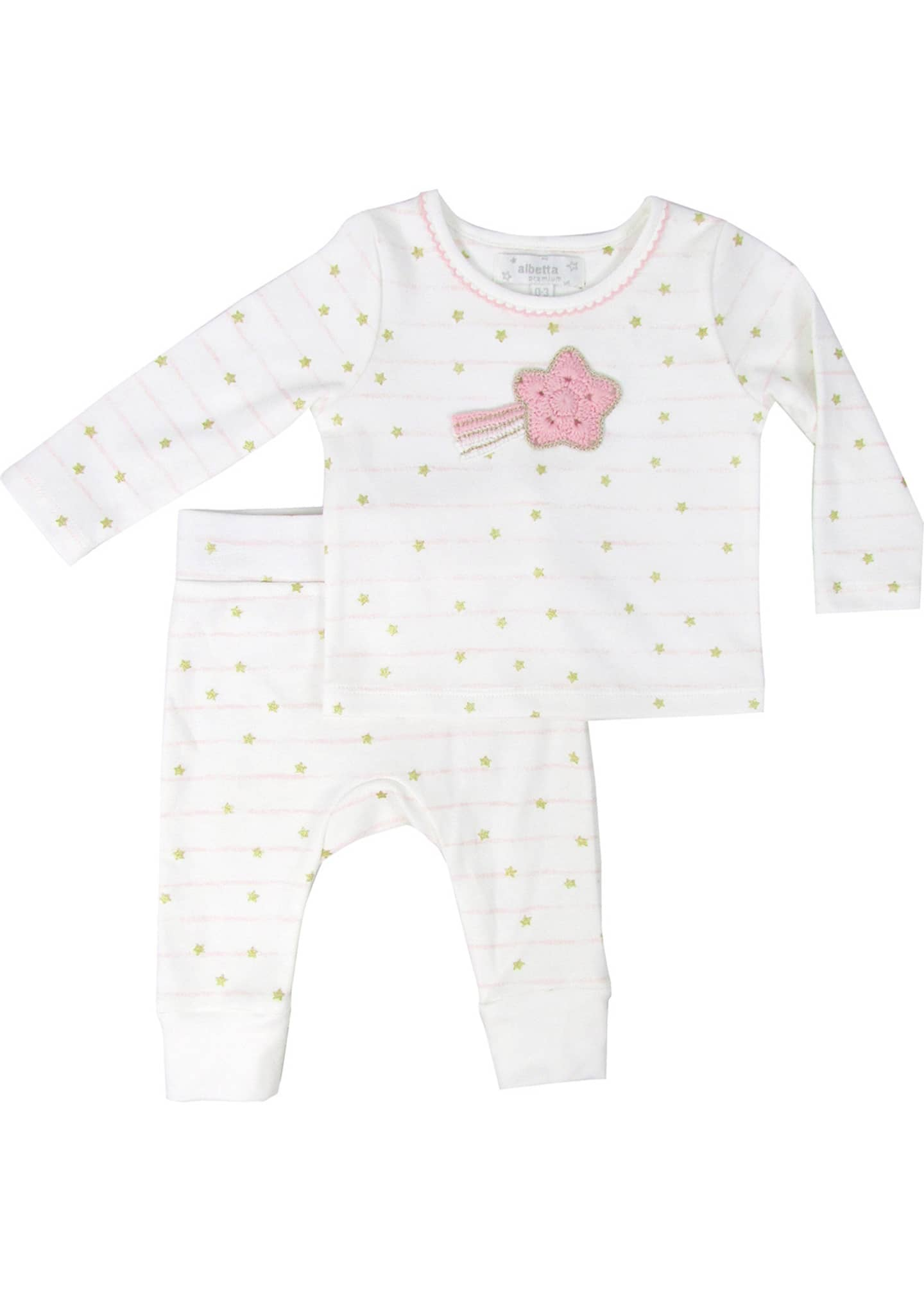 Image 1 of 1: Kid's Stripe Stars Print Long-Sleeve Top w/ Matching Pants, Size 12-36 Months